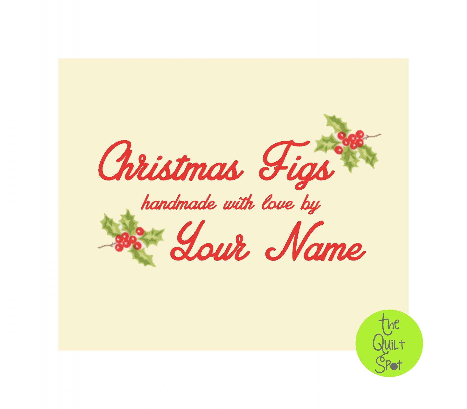 Fig Tree Christmas Figs Custom Quilt Label