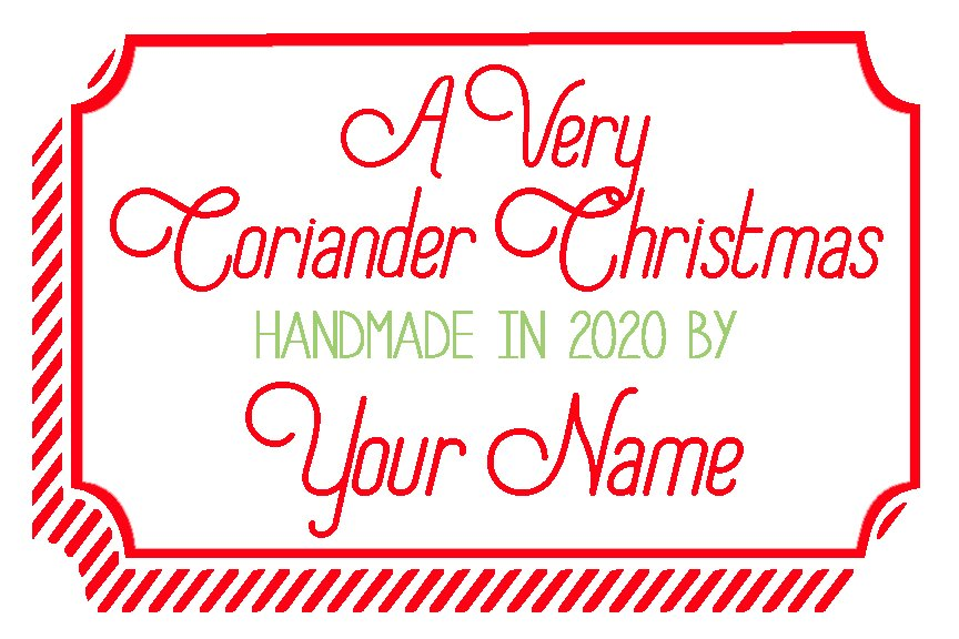 A Very Coriander Christmas Custom Label