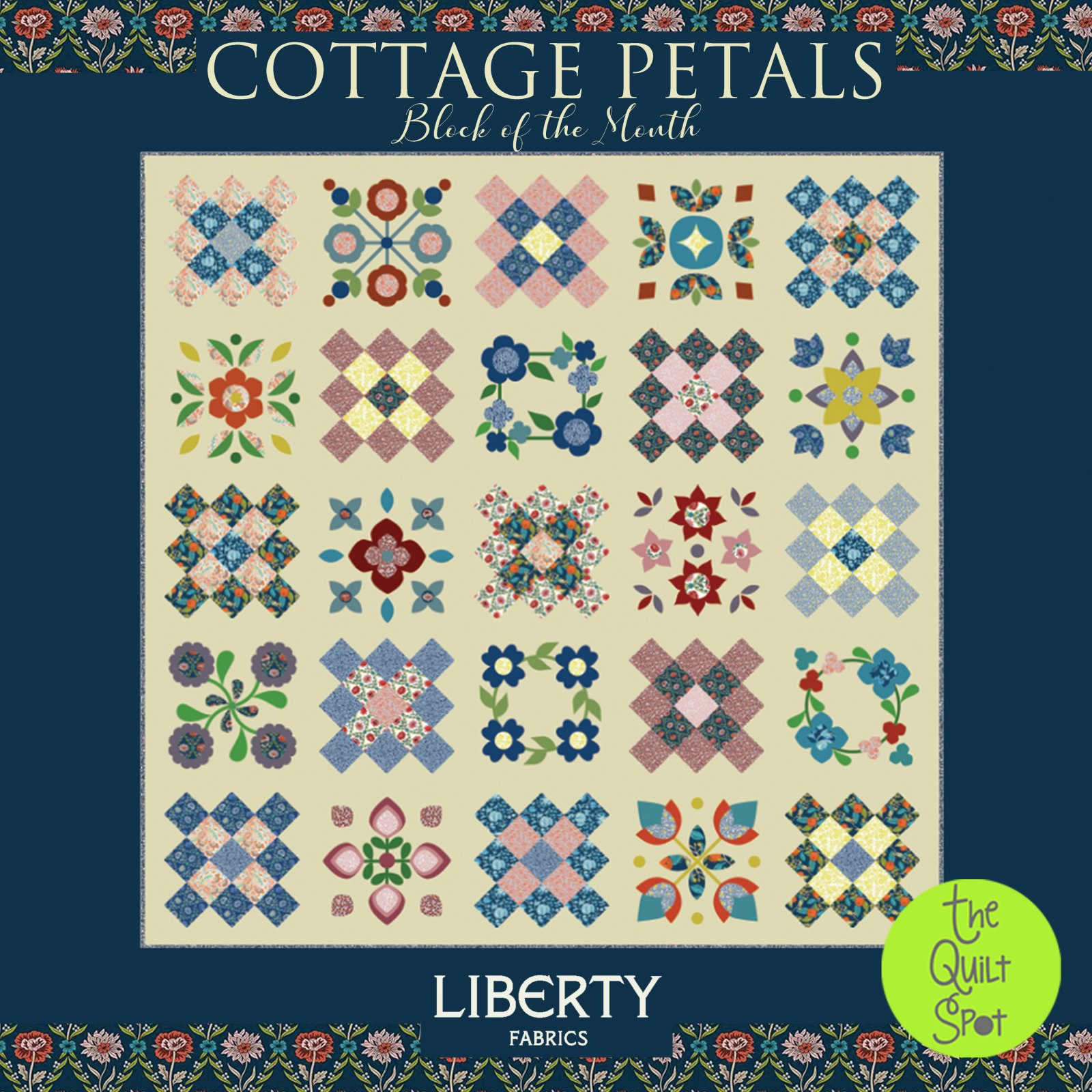 Cottage Petals Block of the Month - Liberty Wool BOM