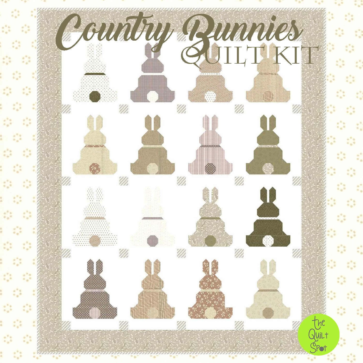 Country Bunnies Quilt Kit - Soft Taupe Edition