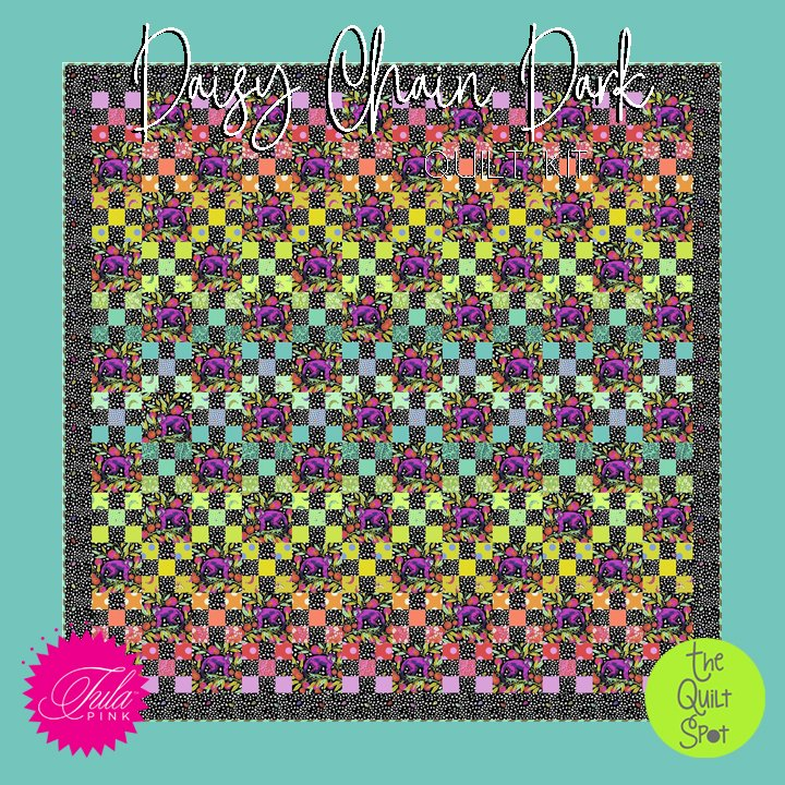 Daisy Chain Dark Quilt Kit featuring Monkey Wrench Fabric by Tula Pink