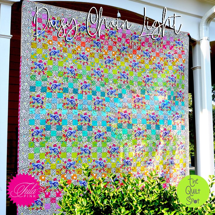 Daisy Chain Light Quilt Kit featuring Monkey Wrench Fabric by Tula Pink