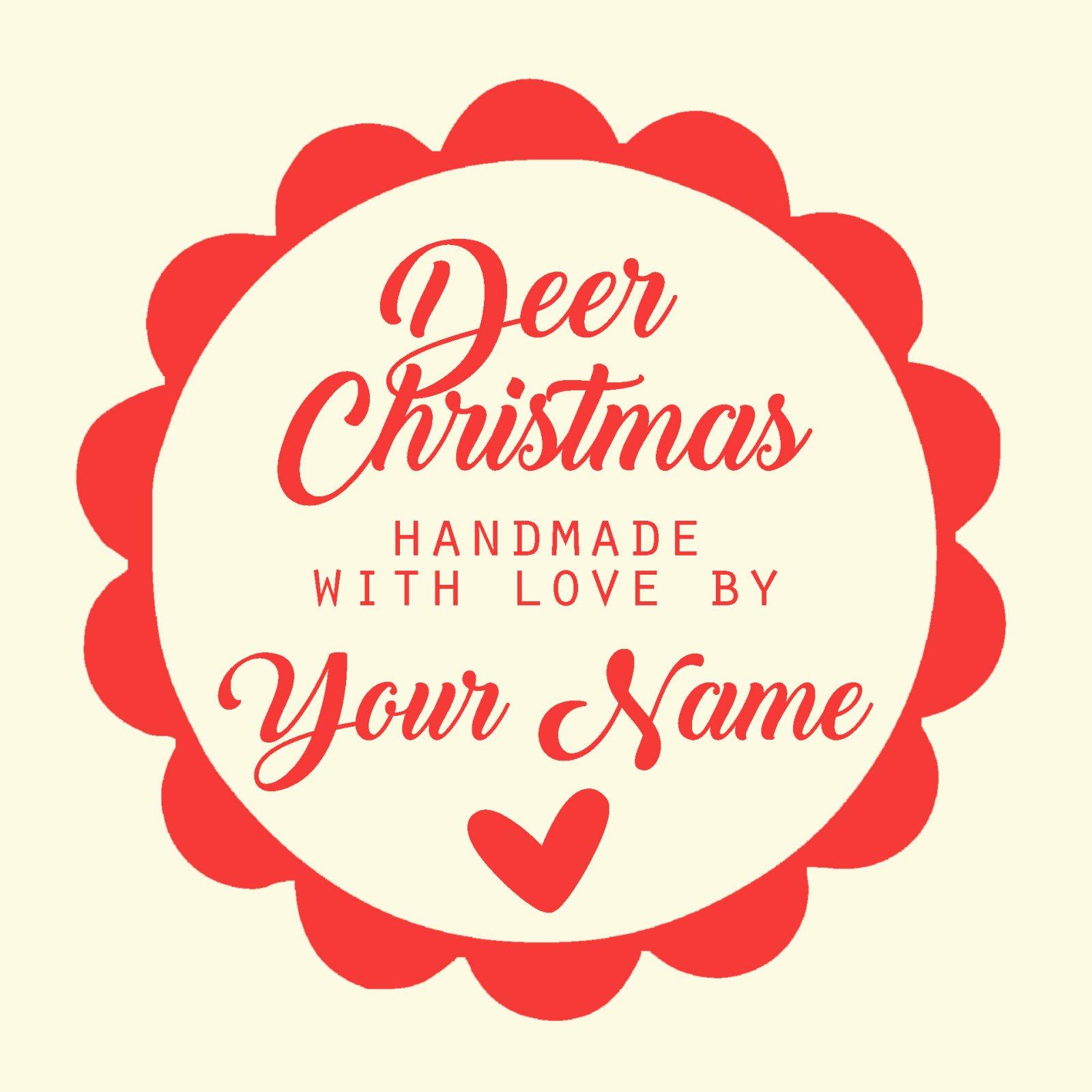 Deer Christmas Custom Quilt Label