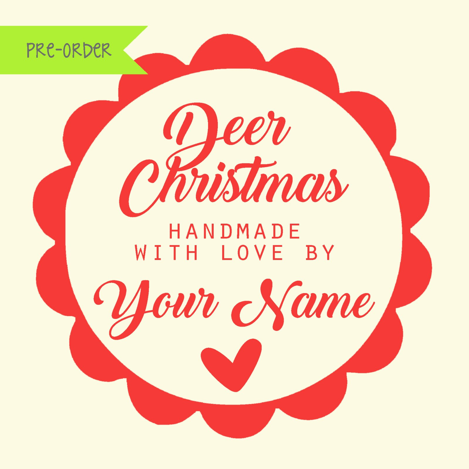 Deer Christmas Custom Quilt Label