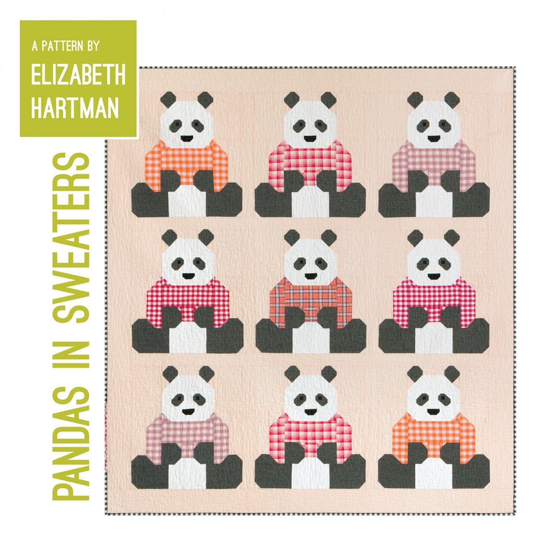 Pandas in Sweaters Pattern by Elizabeth Hartman