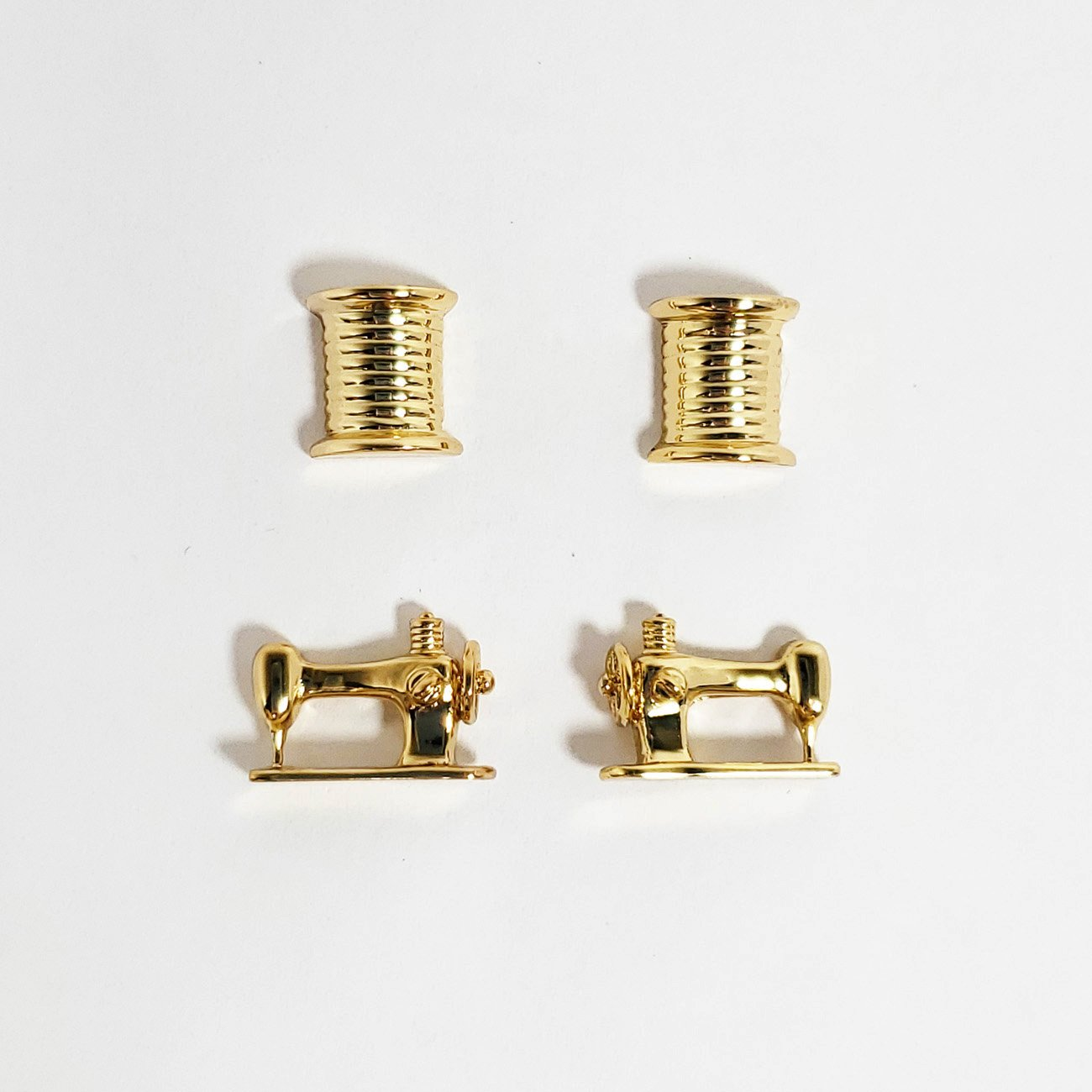 Thread and Machine Post Earring Set of 2 Gold