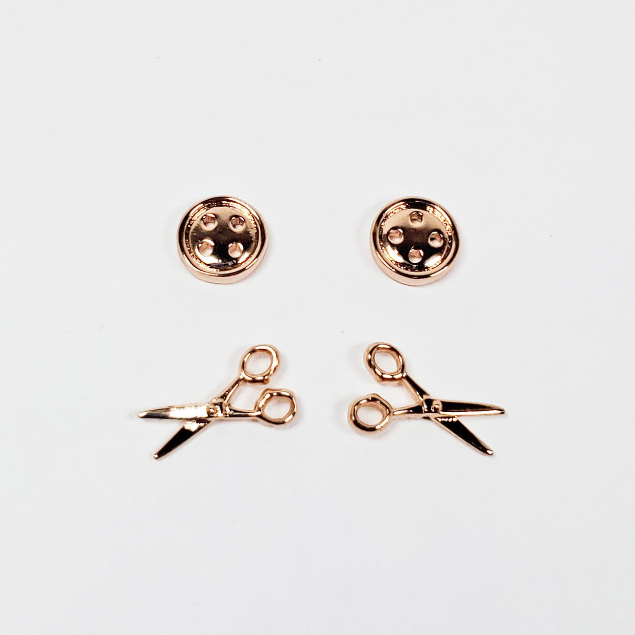 Button and Scissor Post Earring Set of 2 Rose Gold