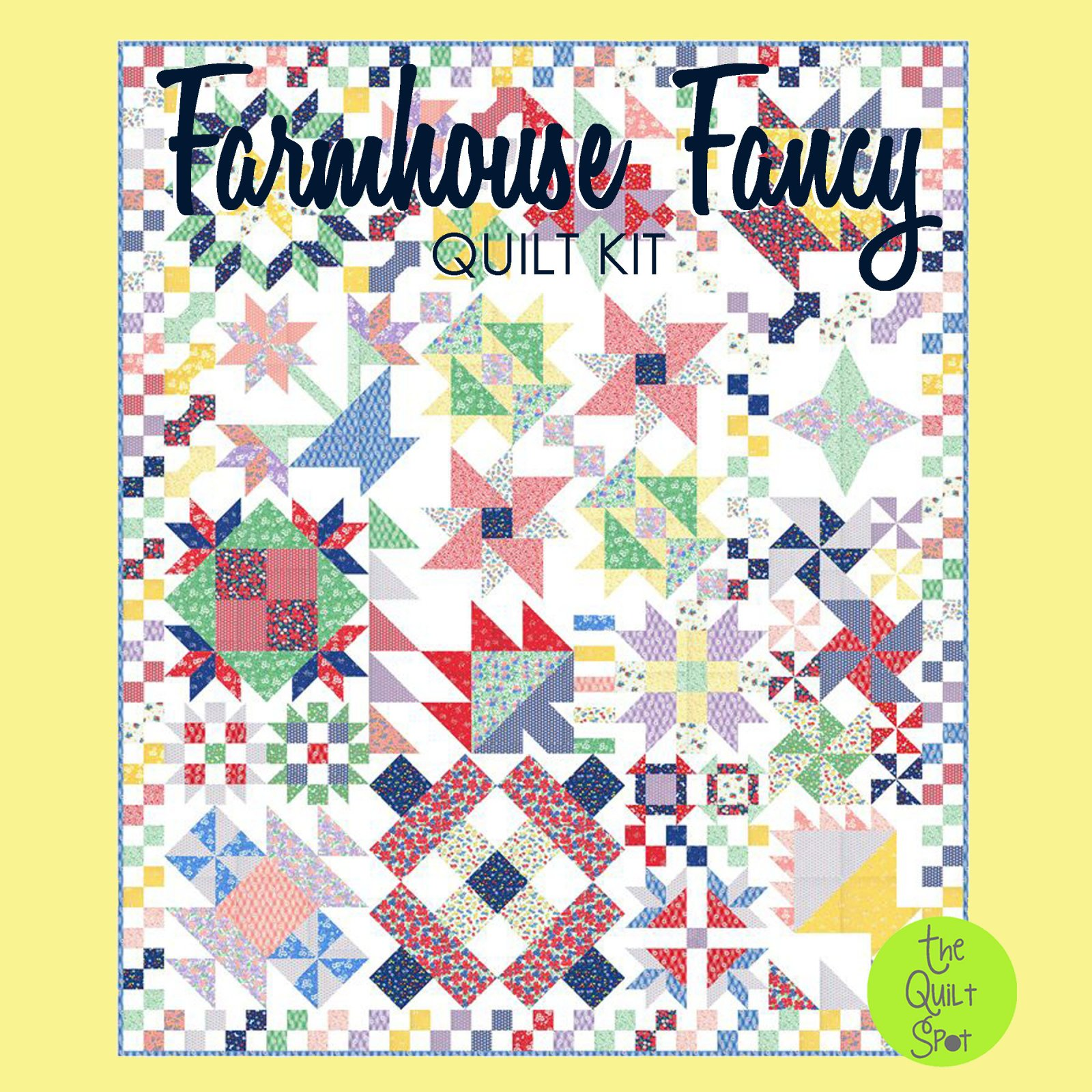 Farmhouse Fancy Quilt Kit featuring 30's Playtime