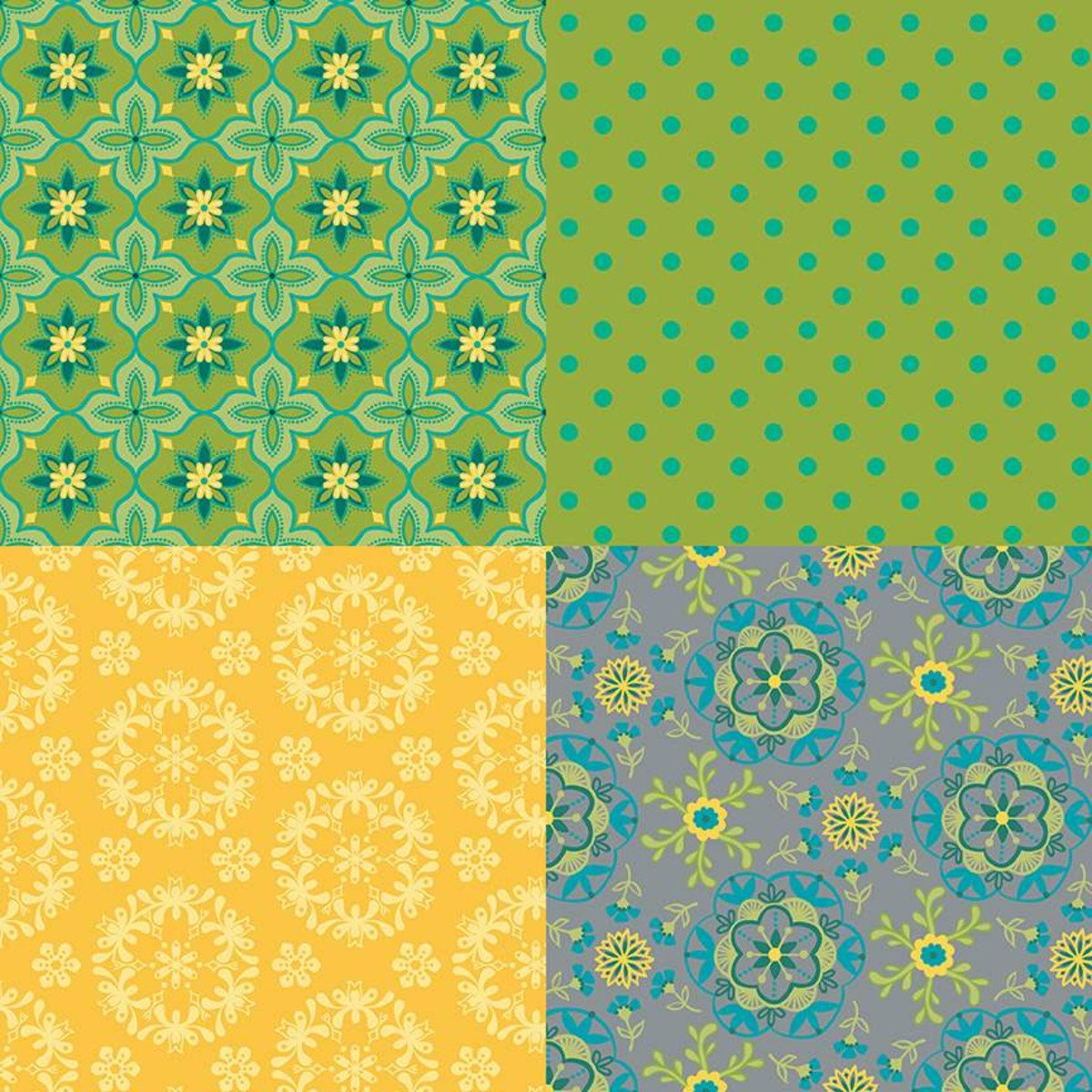 Wildflower Boutique Green Fat Quarter Panel