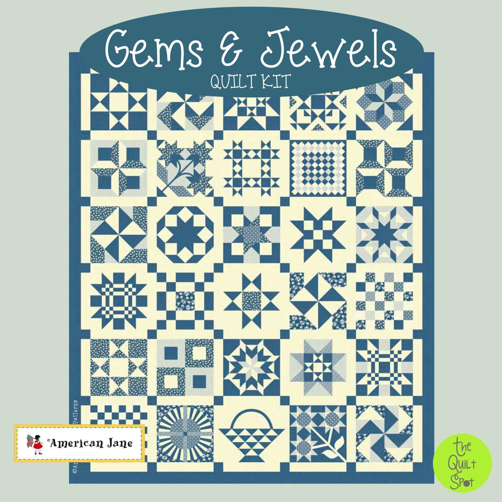 Gems & Jewels Quilt Kit - Blue Colorway