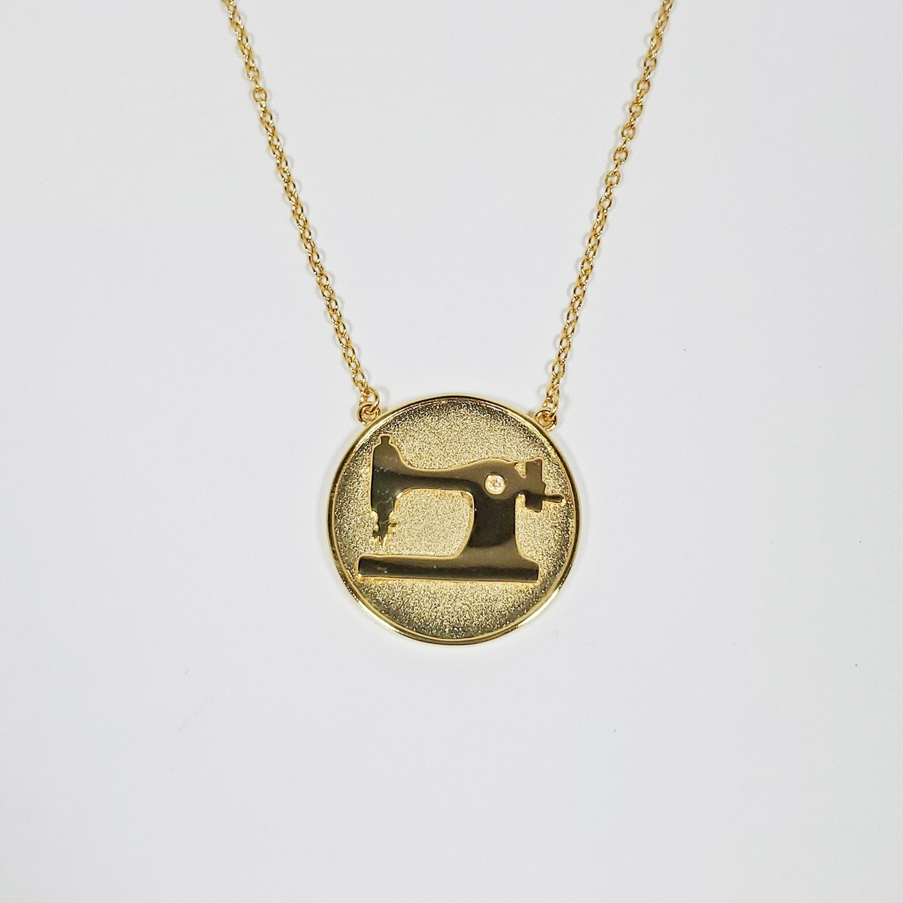 Sewing Machine Coin Pendant Gold