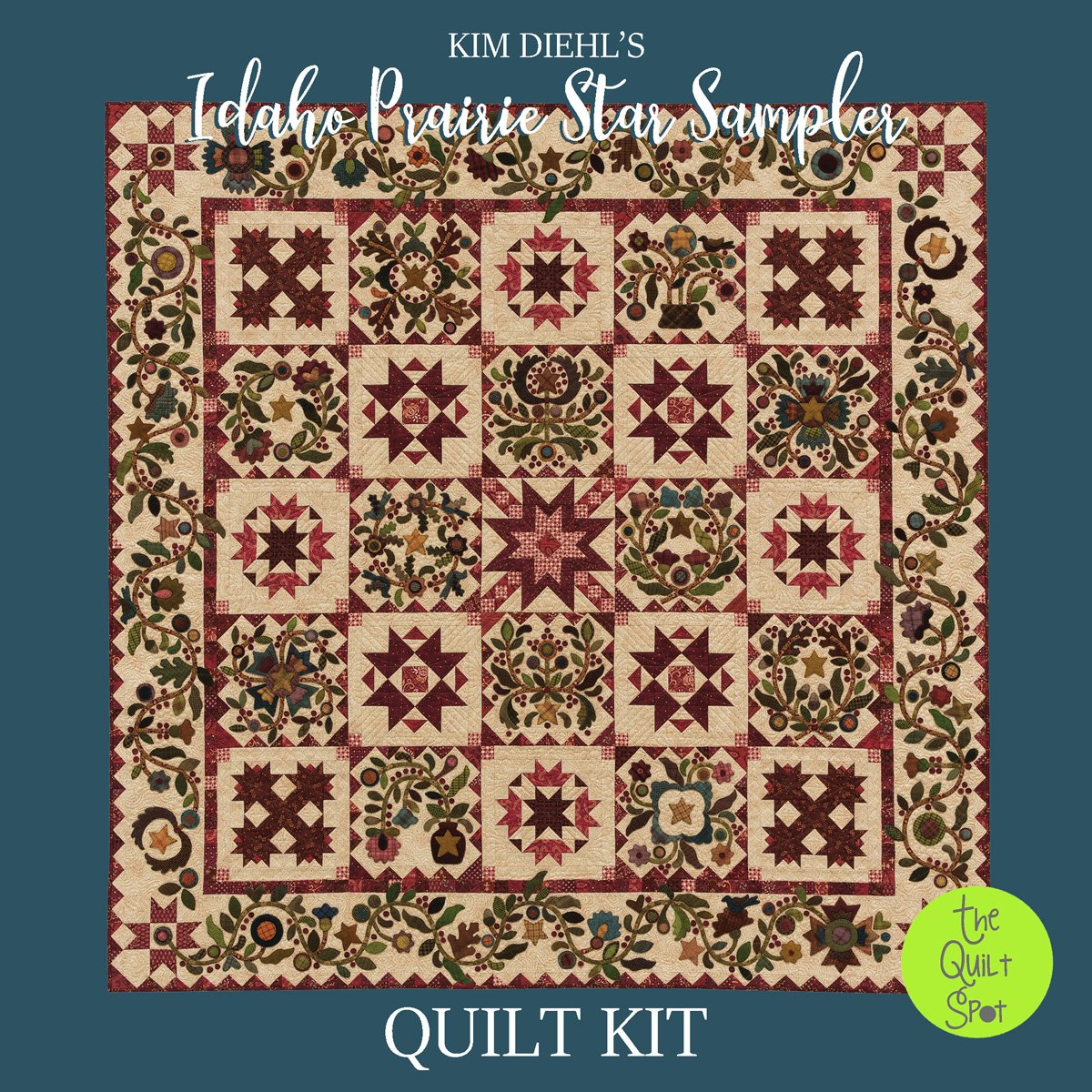 Kim Diehl's Idaho Prairie Star Quilt Kit - Fabric & Wool Kit Only (Book Sold Separately)