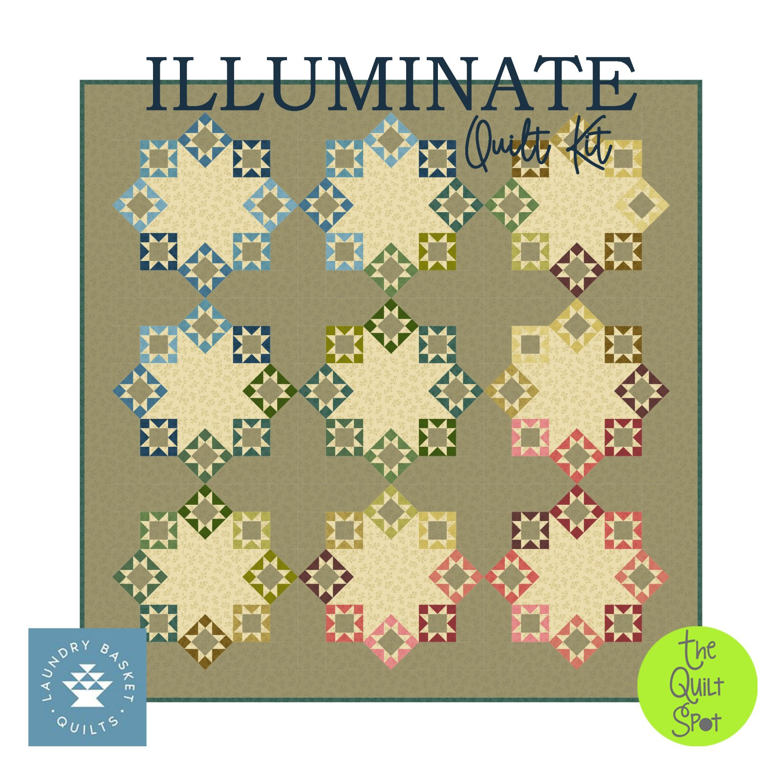 Illuminate Quilt Kit - Olive Branch Fabric by Laundry Basket Quilts
