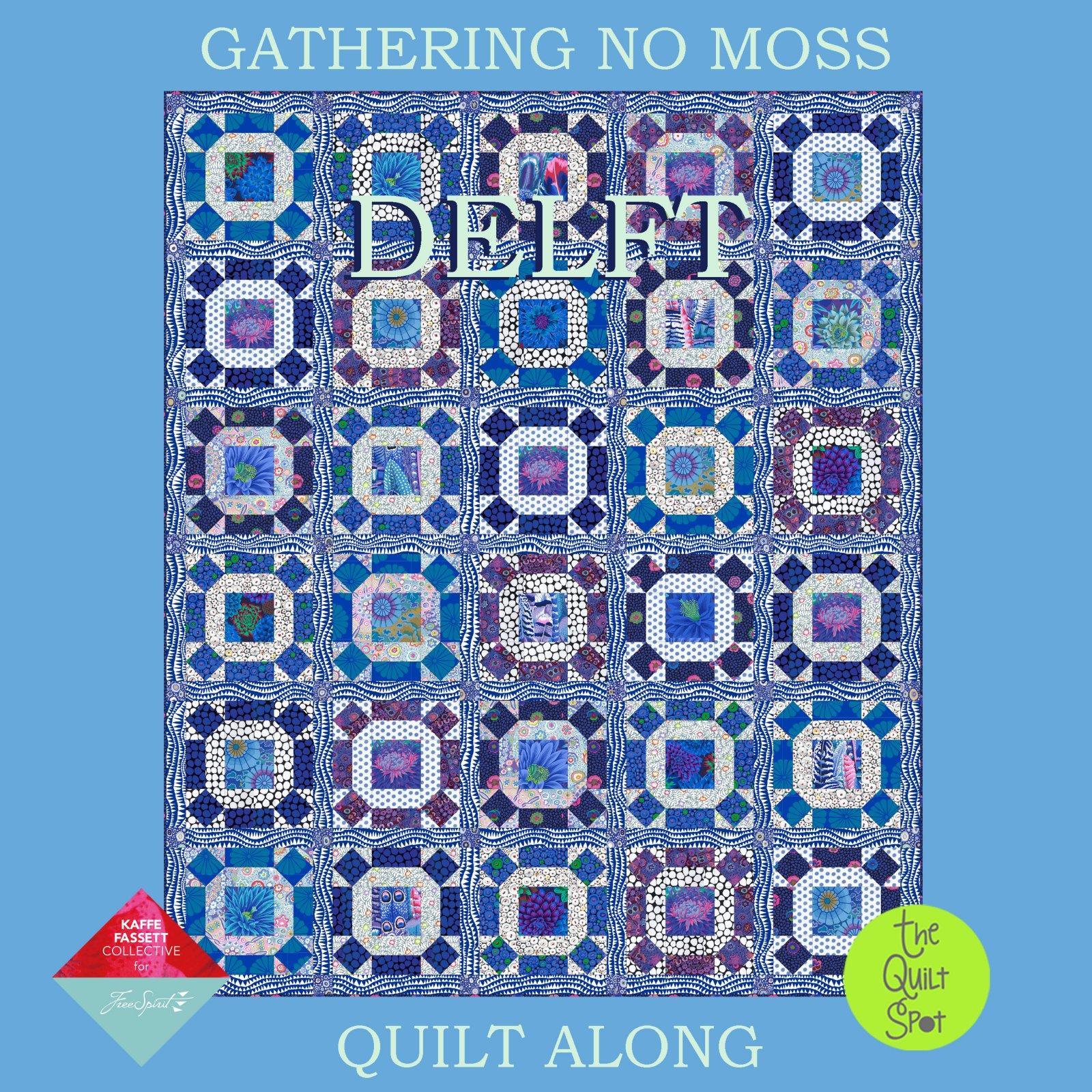 Kaffe Fassett Gathering No Moss Quilt Kit - Delft Colorway