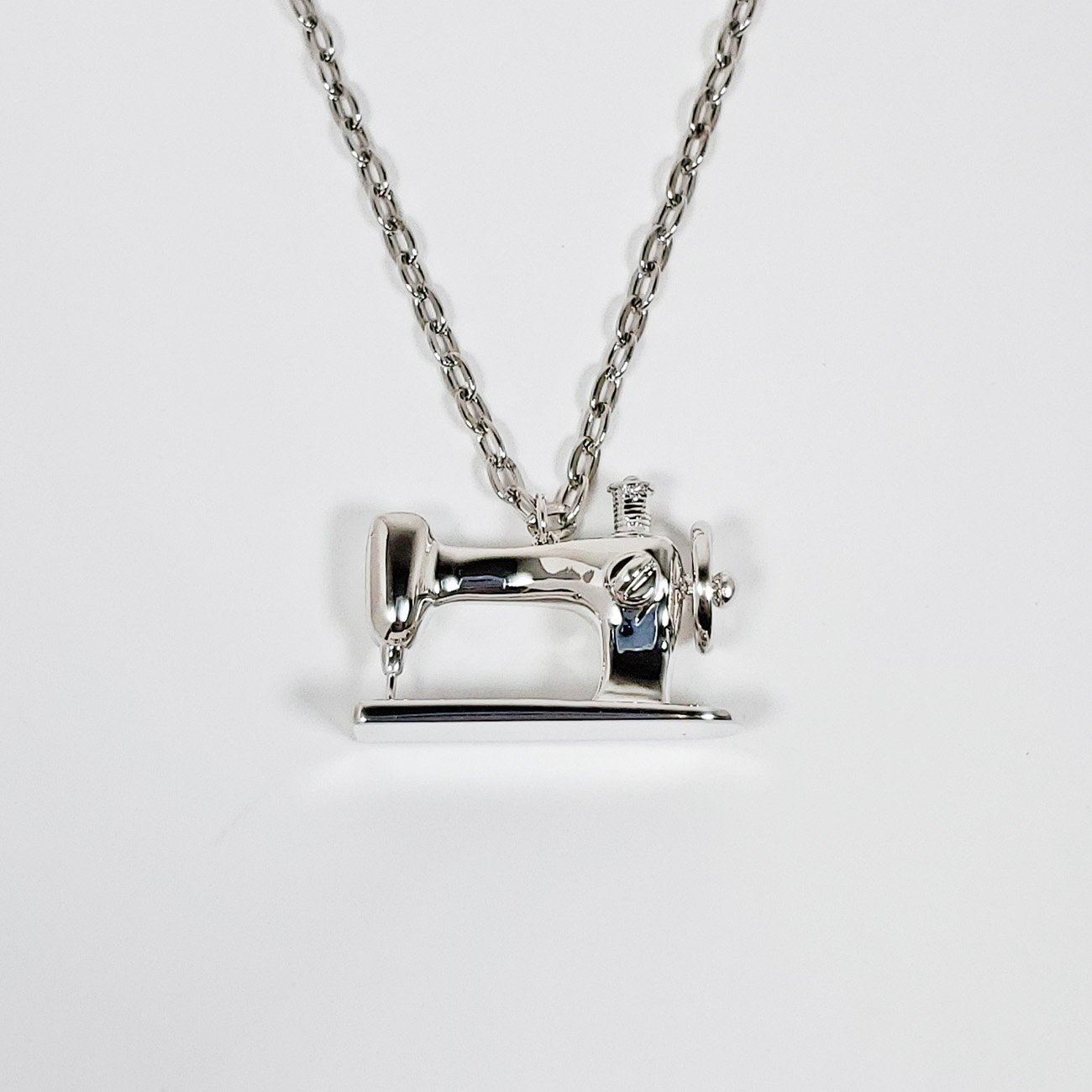 Sewing Machine Long Pendant Necklace Silver