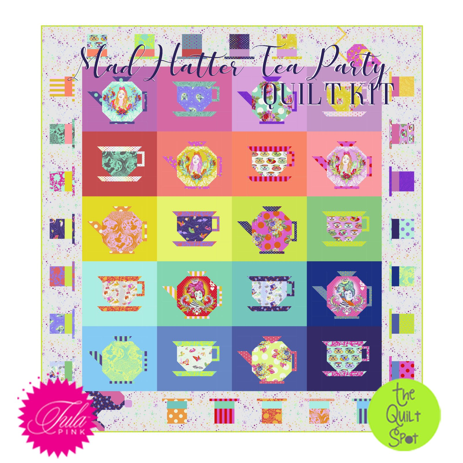 Tula Pink's Mad Hatter Tea Party Quilt Kit featuring Curiouser & Curiouser