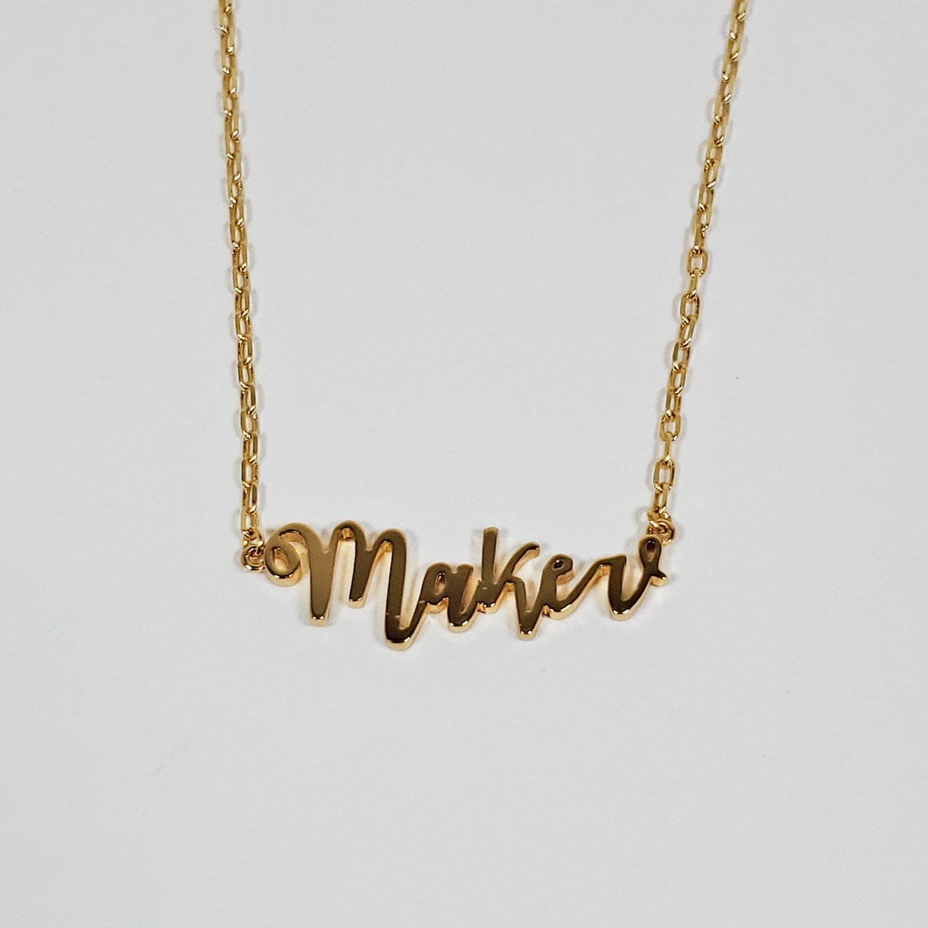Maker Script Necklace Gold