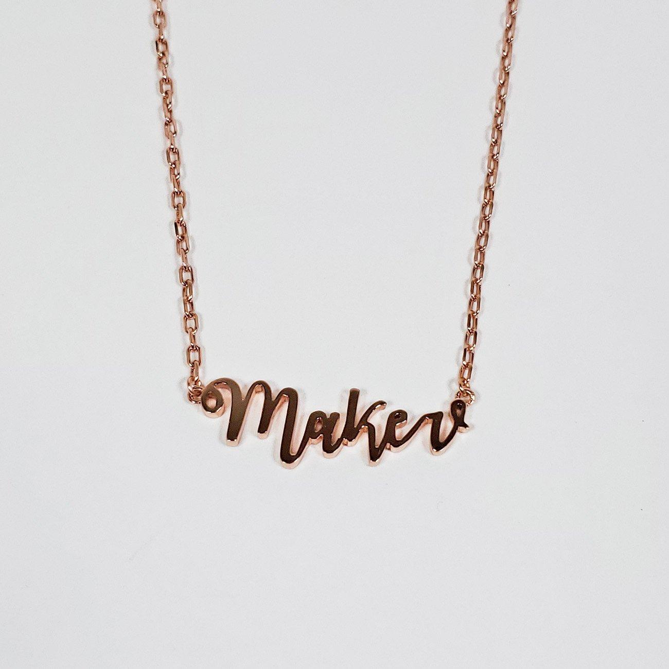 Maker Script Necklace Rose Gold