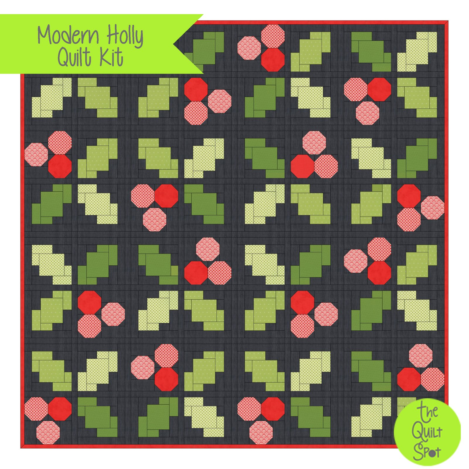 Christmas Figs - Modern Holly Quilt Kit
