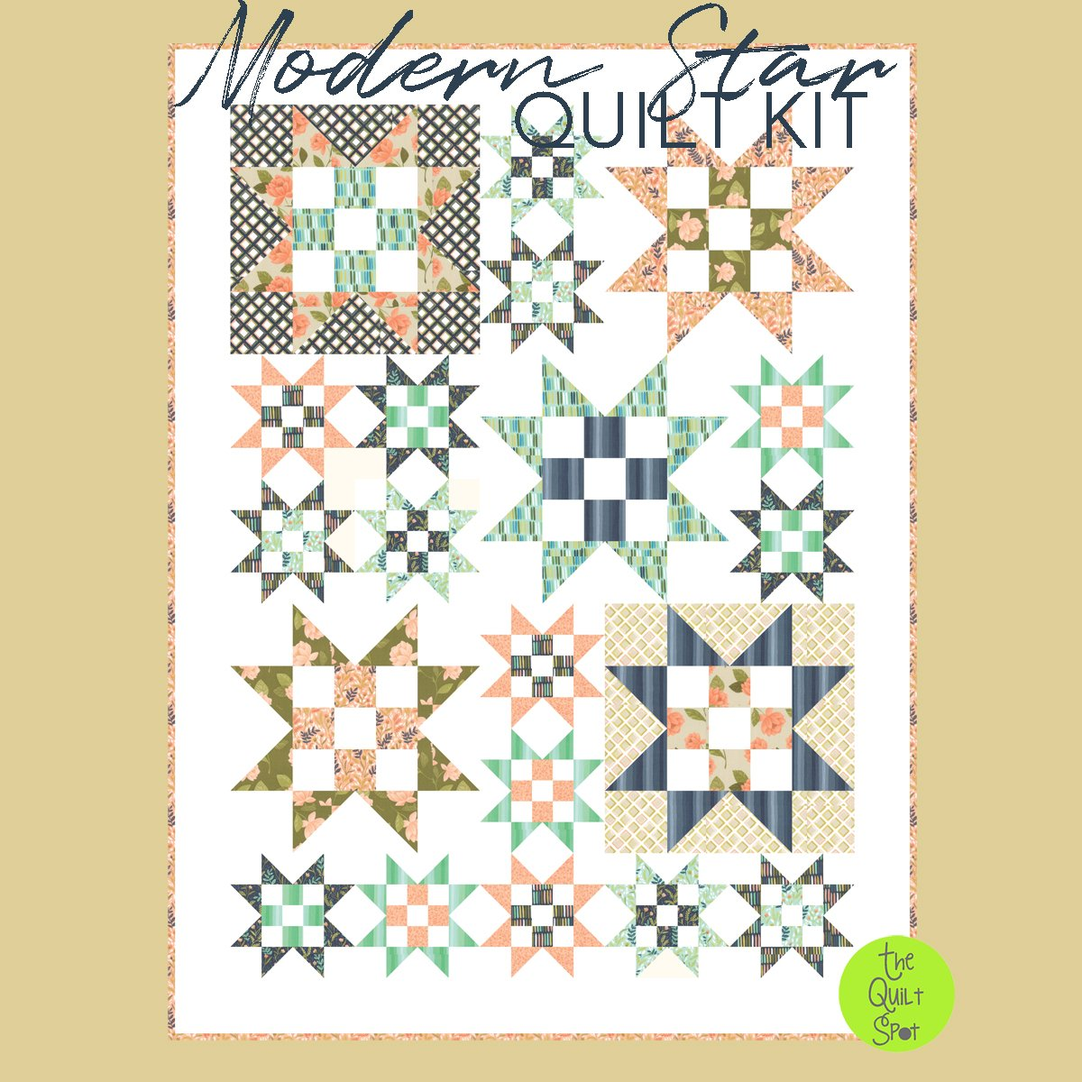 Modern Star Quilt Kit Featuring Goldenrod fabric by One Canoe Two