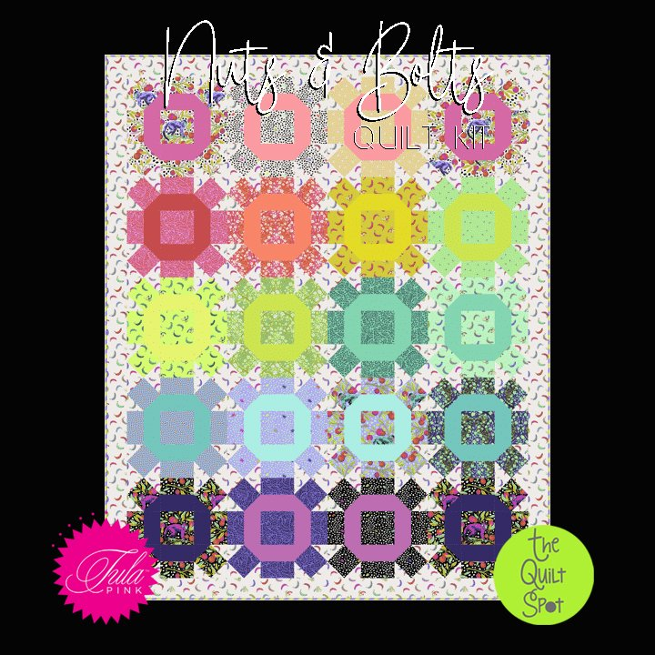 Nuts and Bolts Quilt Kit featuring Monkey Wrench Fabric by Tula Pink