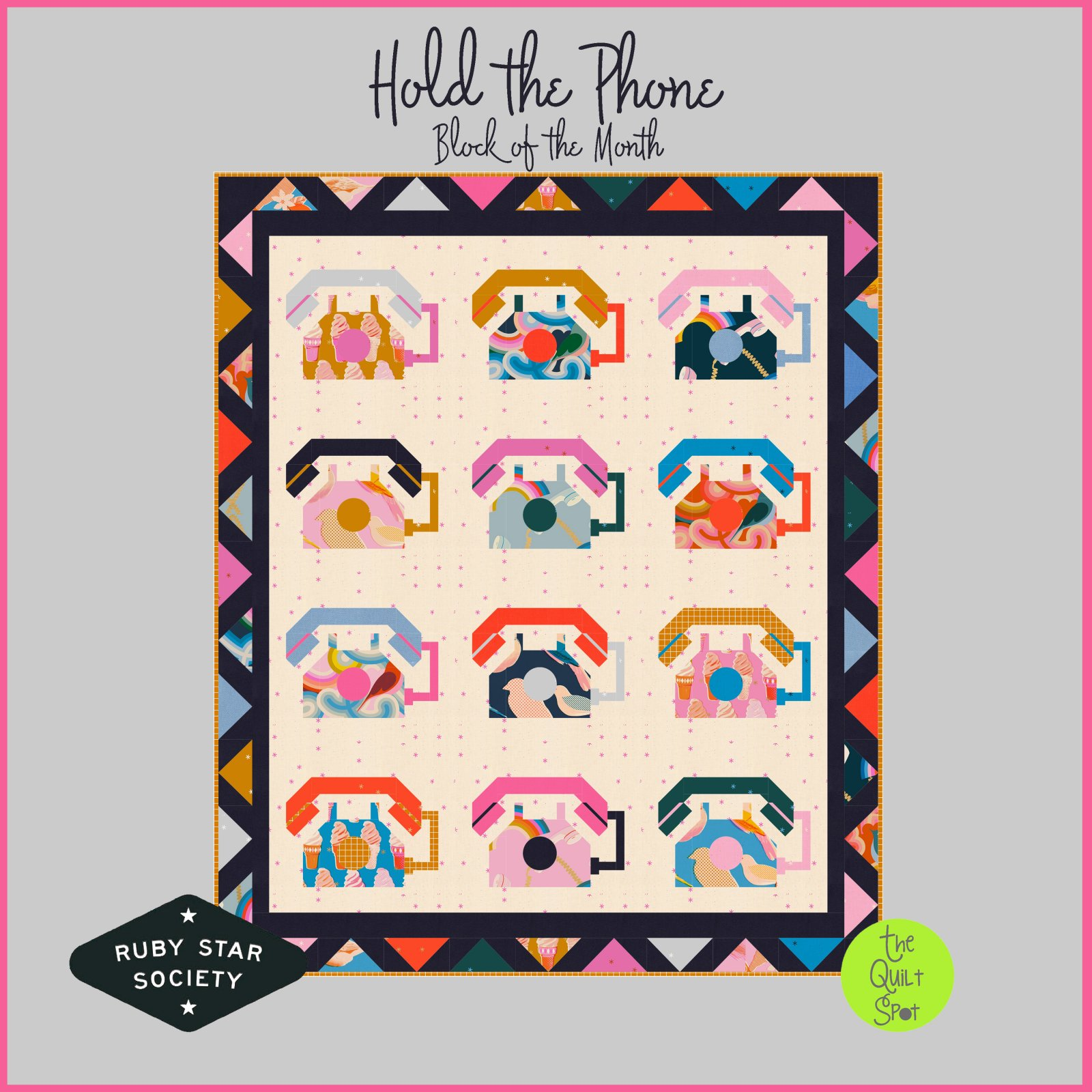 Hold the Phone Block of the Month - Ruby Star Society Block of the Month