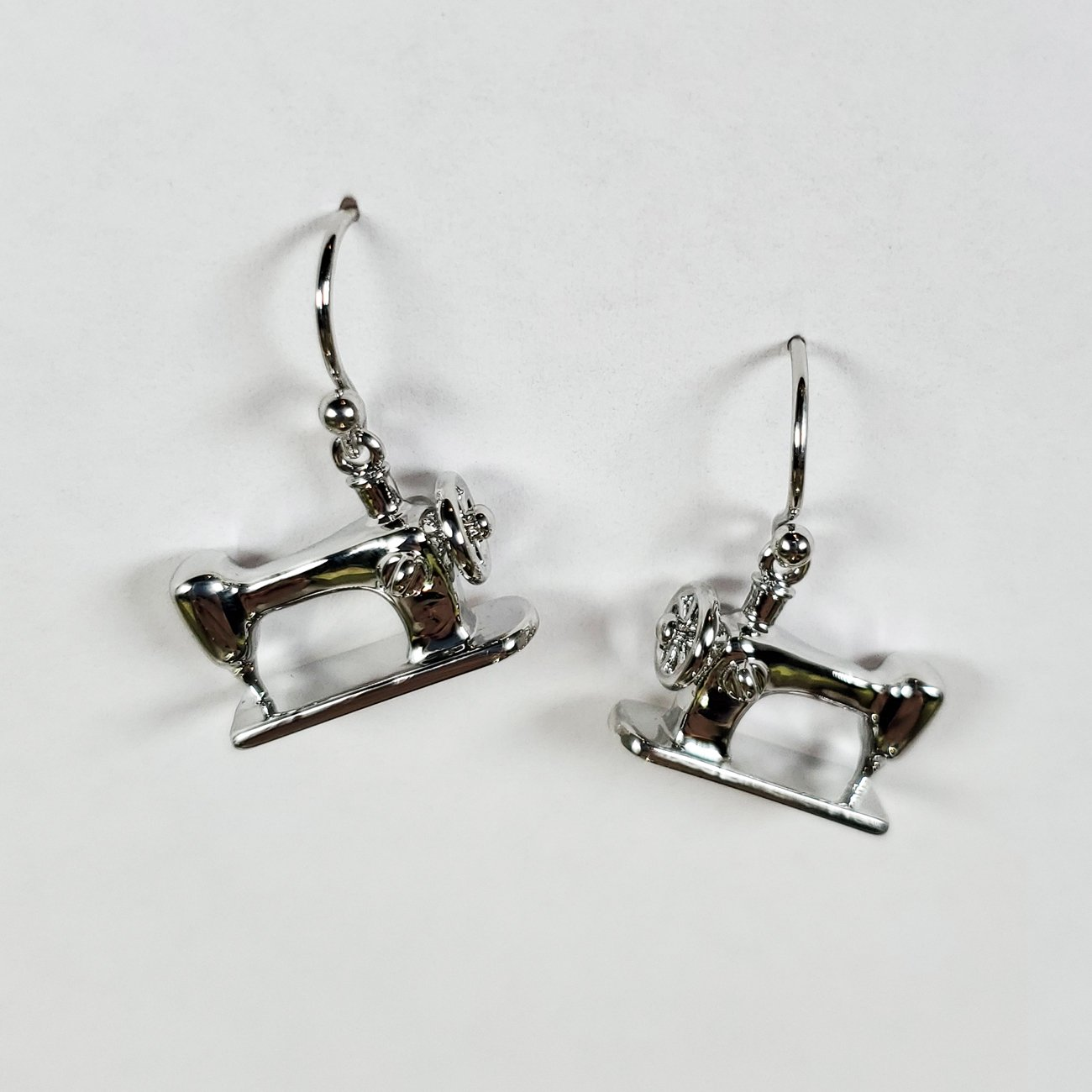 Sewing Machine Drop Earring Silver
