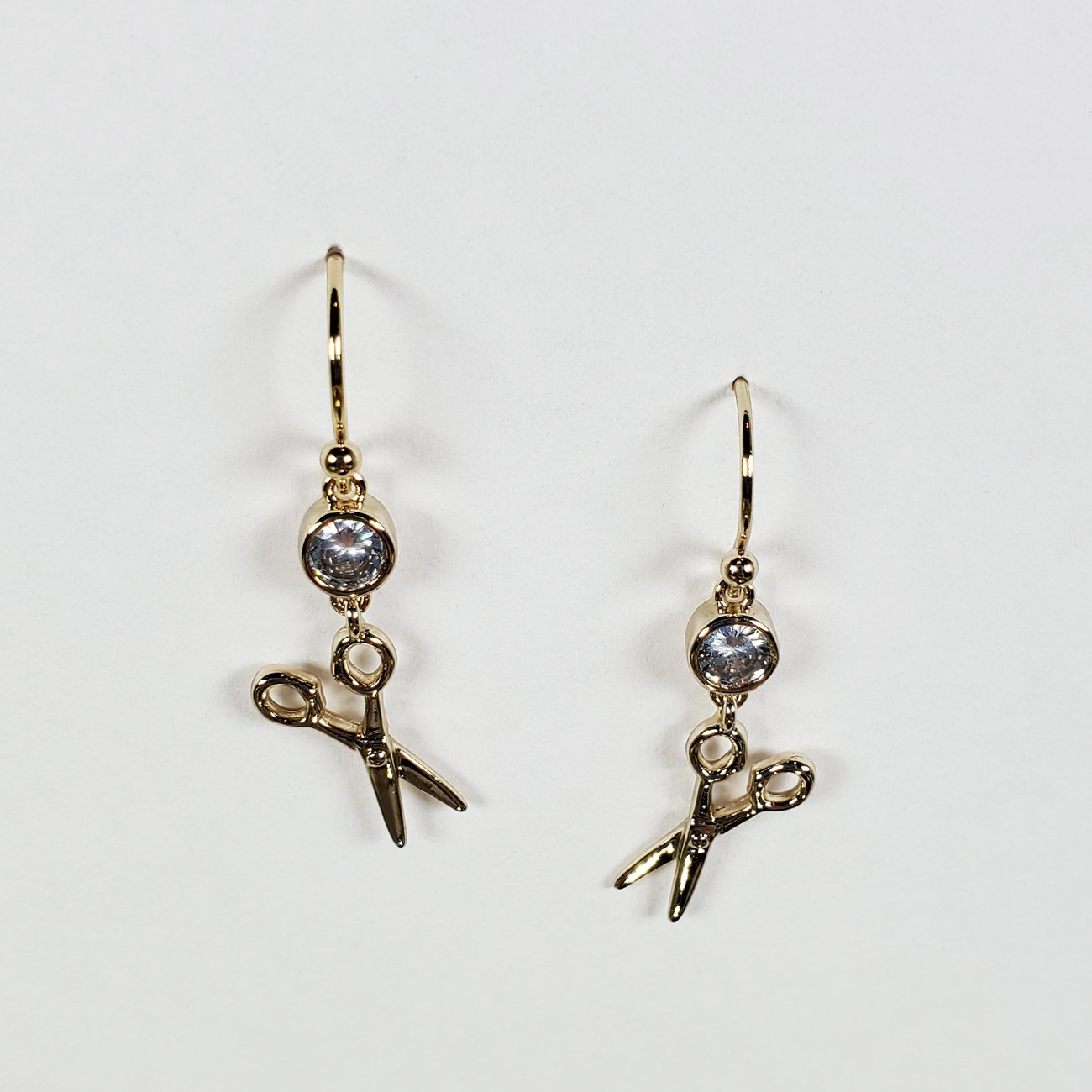 Scissor and Stone Drop Earring Gold