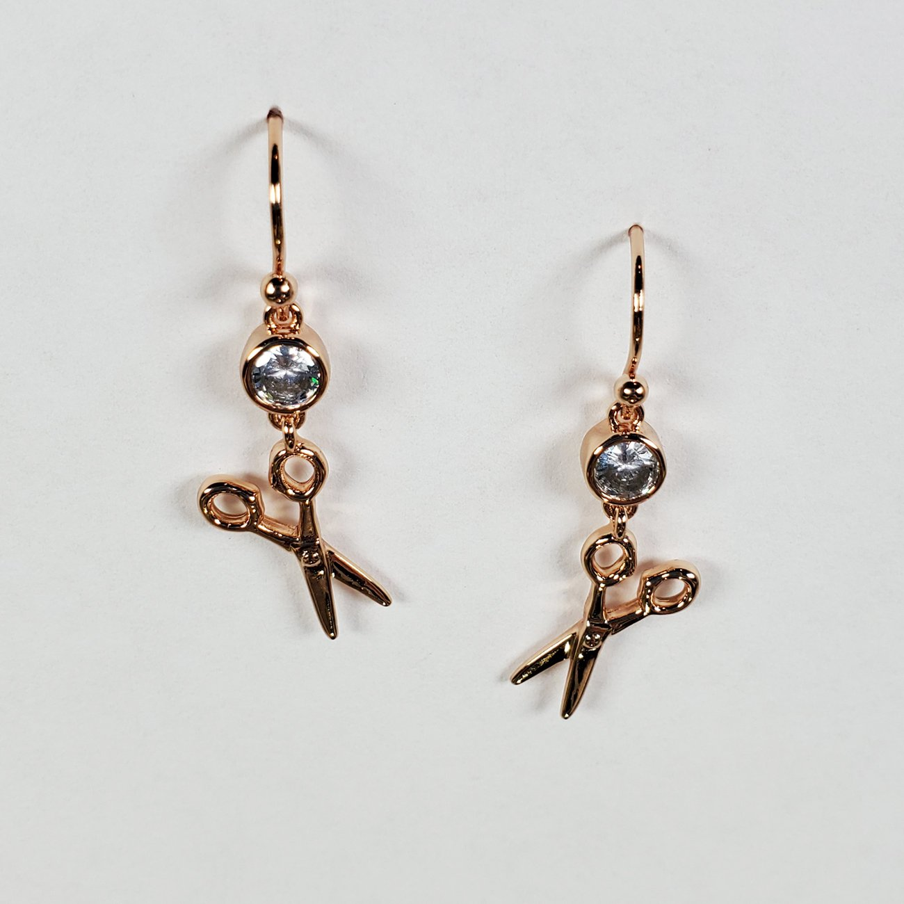 Scissor and Stone Drop Earring Rose Gold