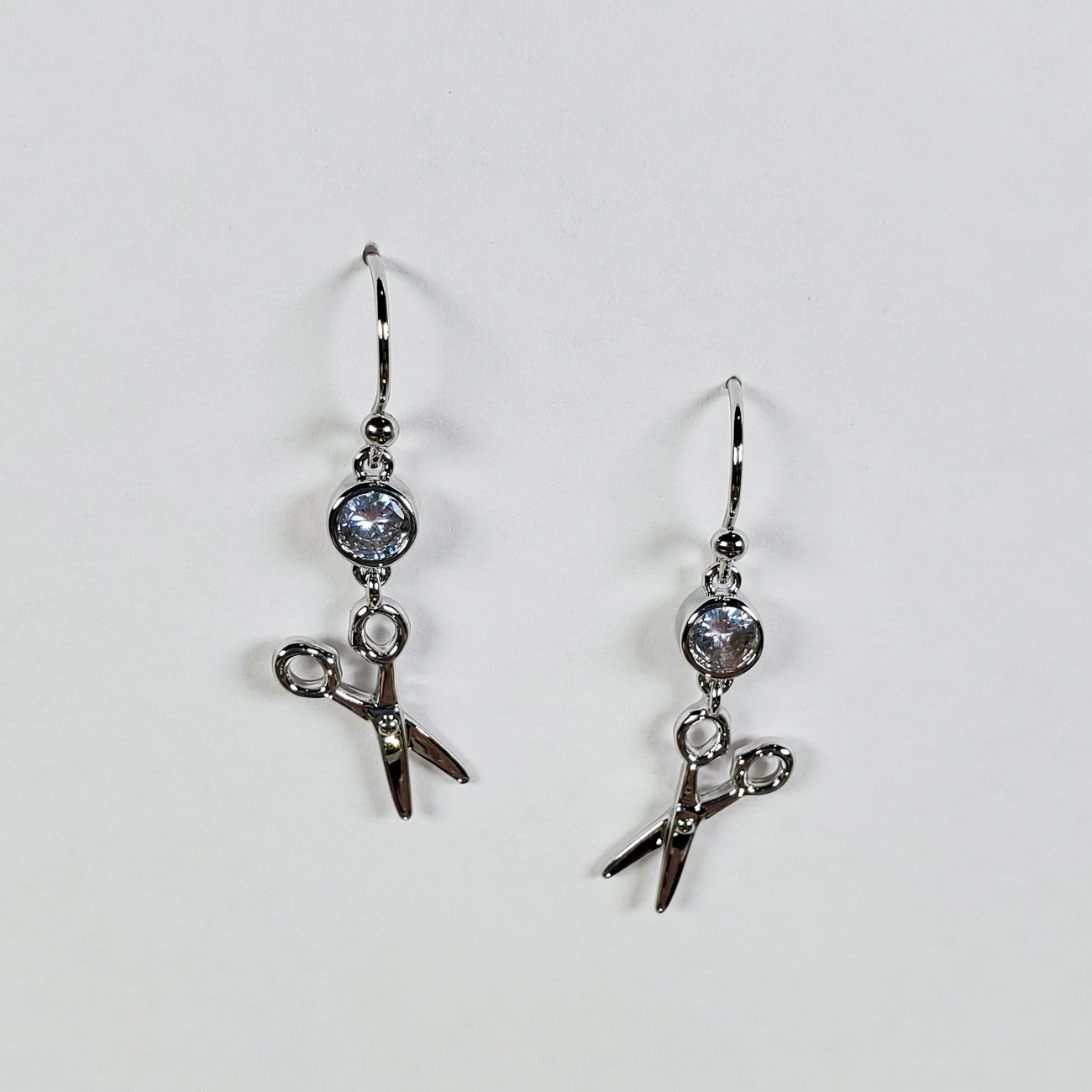 Scissor and Stone Drop Earring Silver