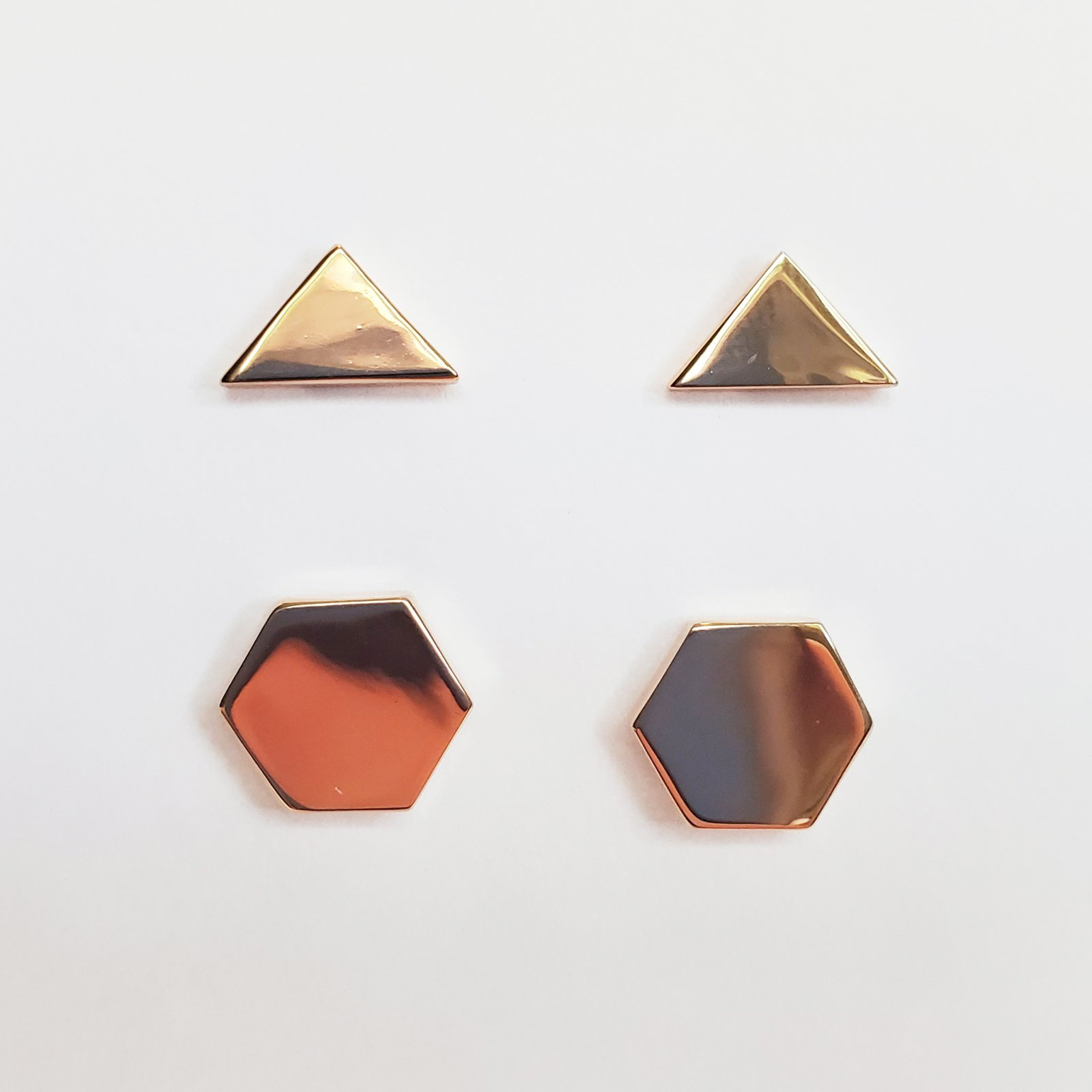 Hexagon and Triangle Post Earring Set of 2 Rose Gold