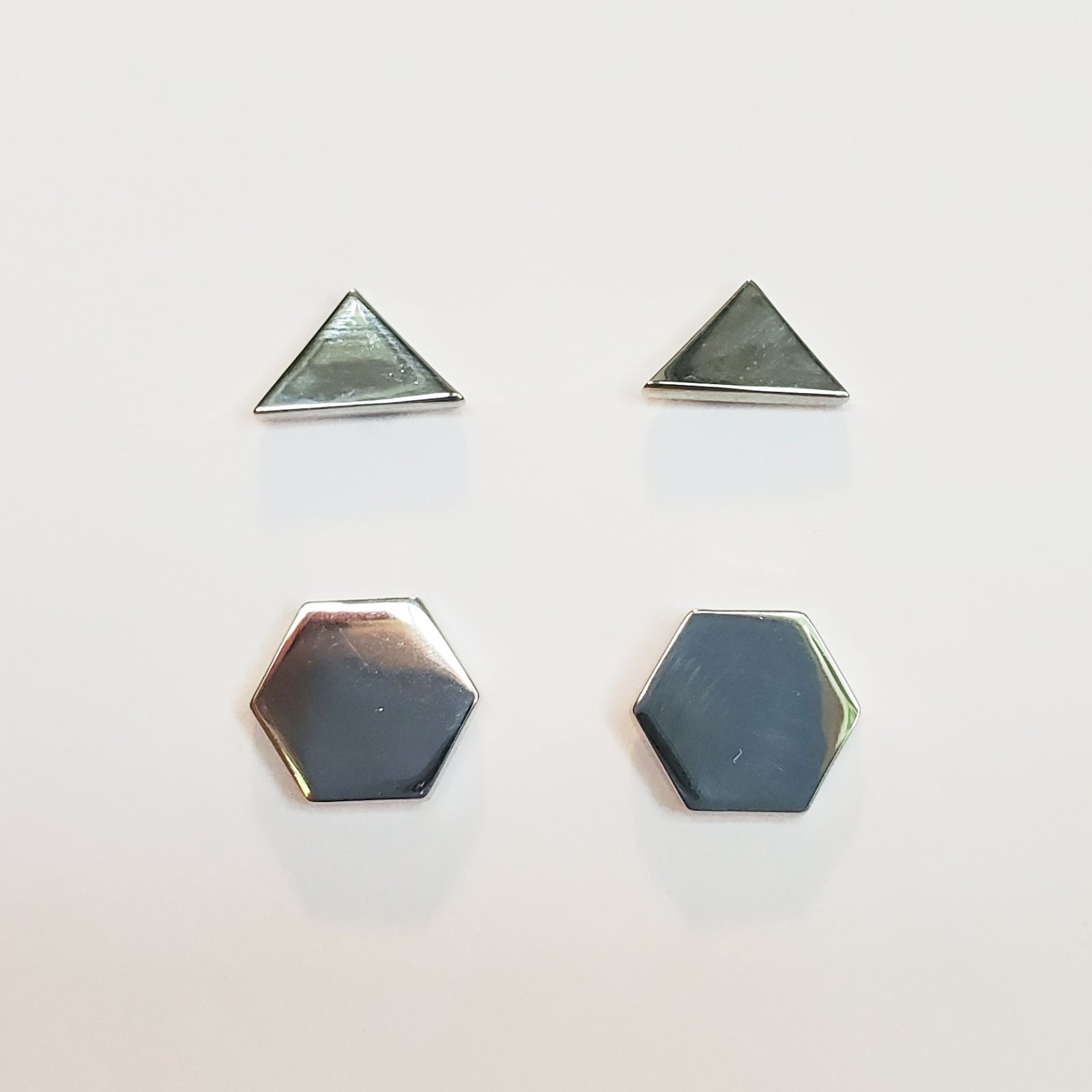 Hexagon and Triangle Post Earring Set of 2 Silver