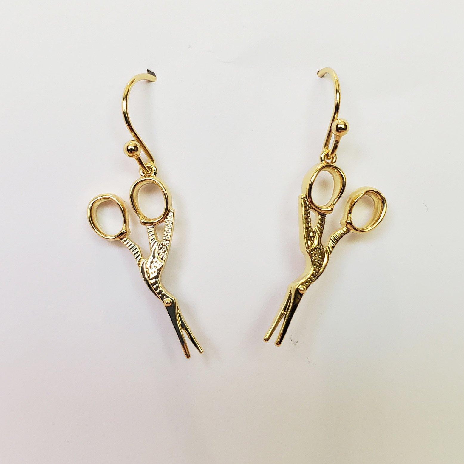 Stork Scissor Drop Earring Gold