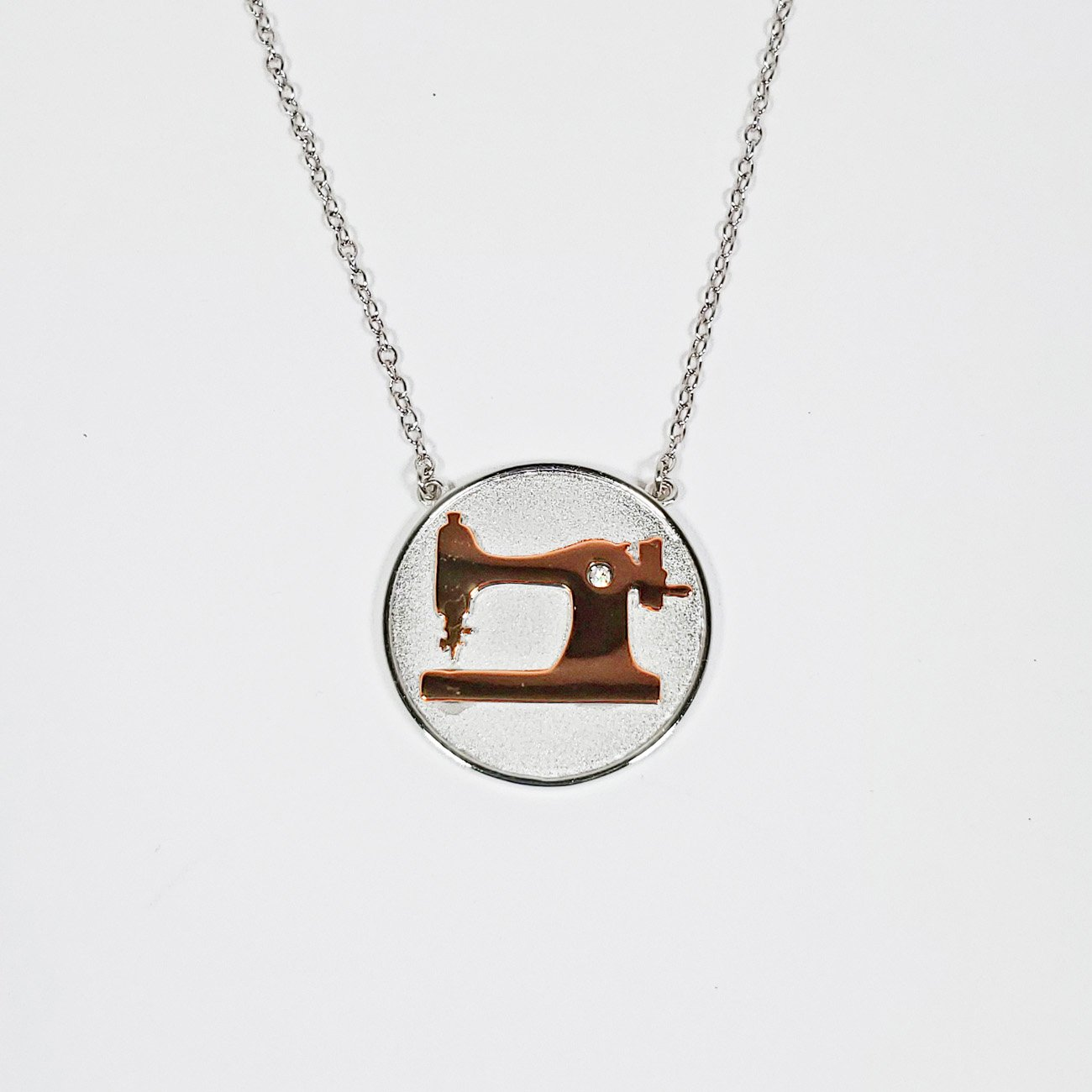 Sewing Machine Coin Pendant Two Tone Silver and Rose Gold