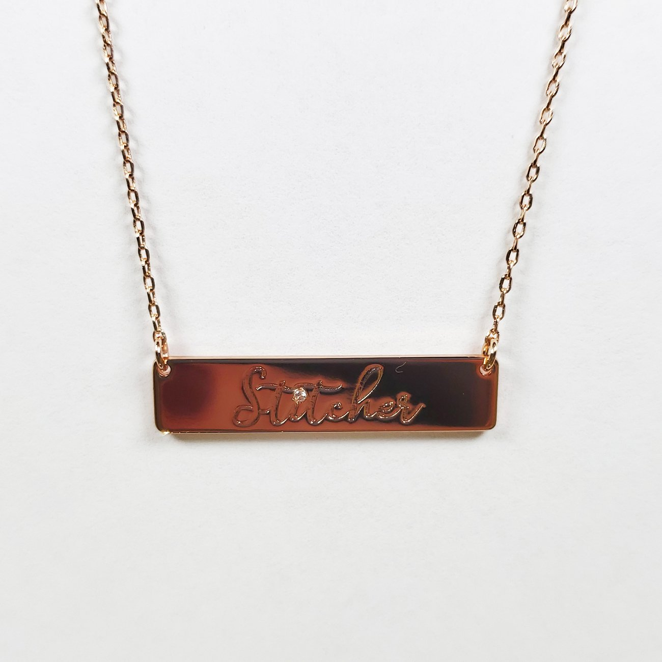 Stitcher Bar Necklace Rose Gold