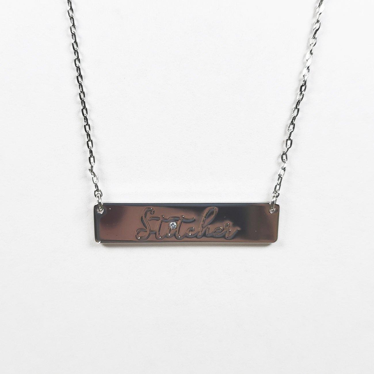 Stitcher Bar Necklace Silver
