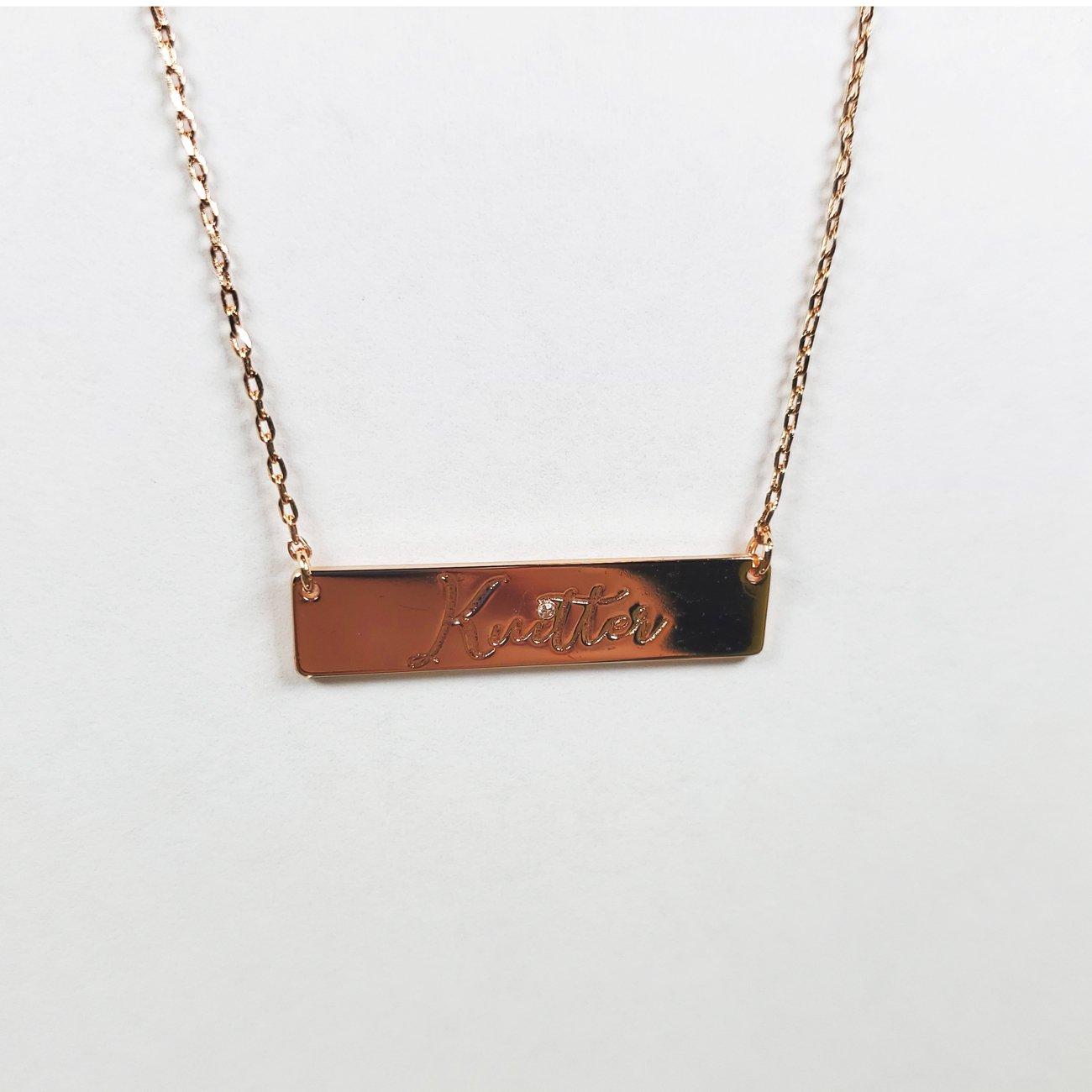 Knitter Bar Necklace Rose Gold