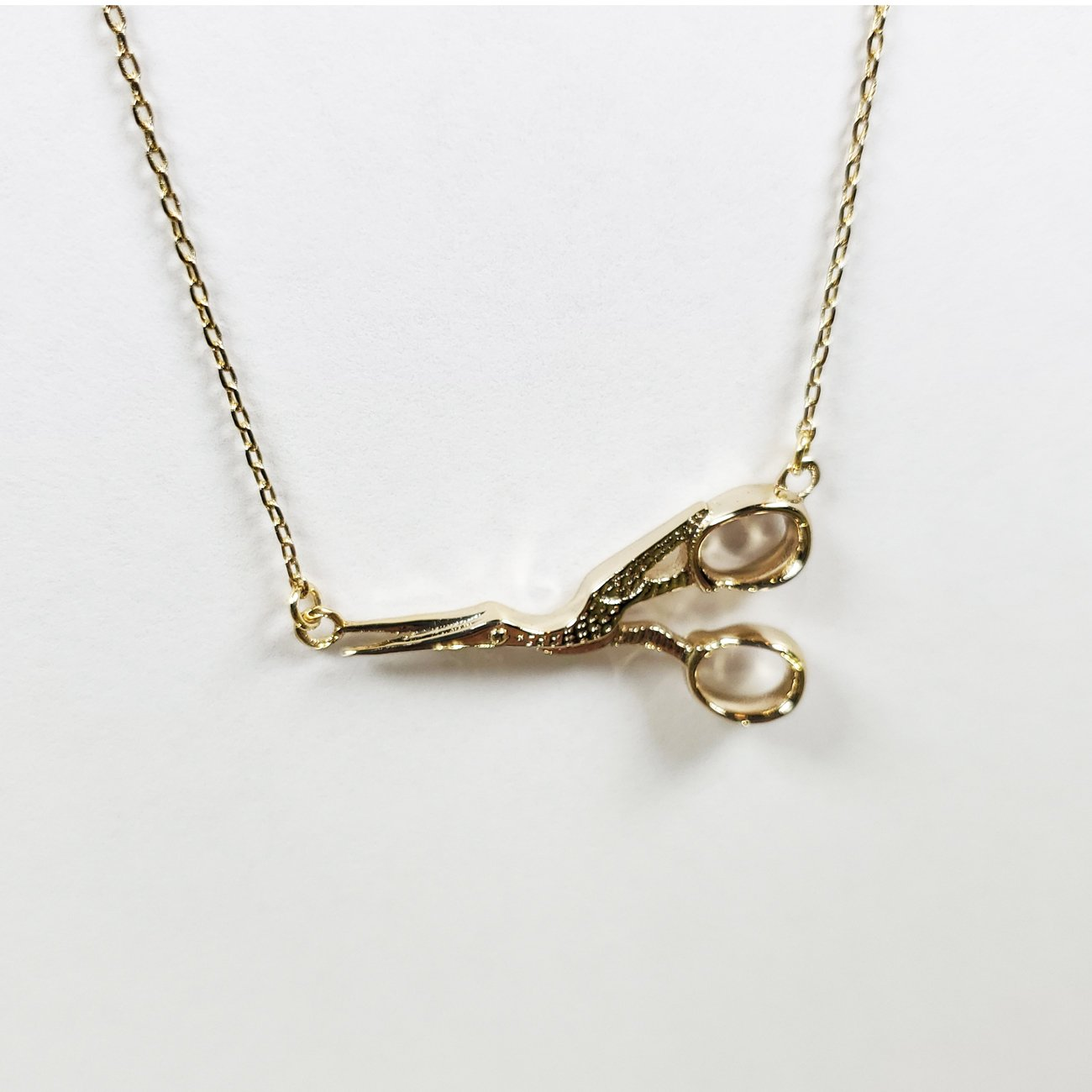 Stork Scissor Necklace Gold