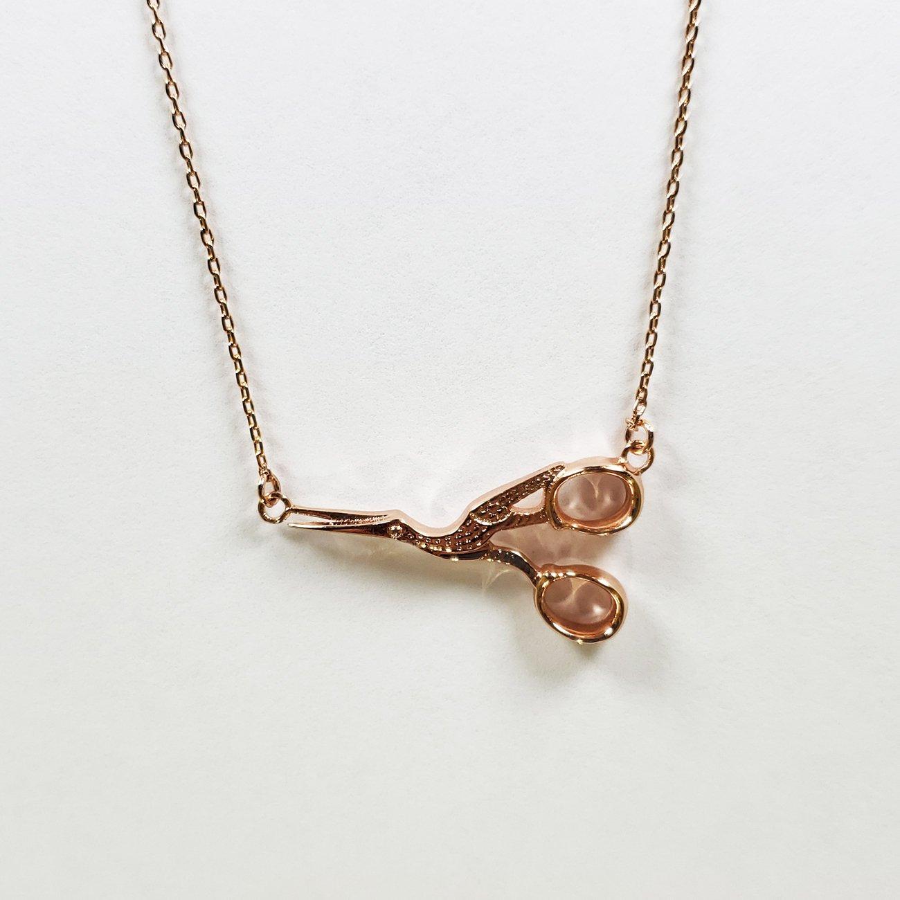 Stork Scissor Necklace Rose Gold