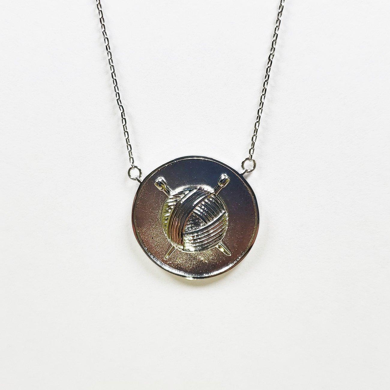 Knit Coin Pendant Silver
