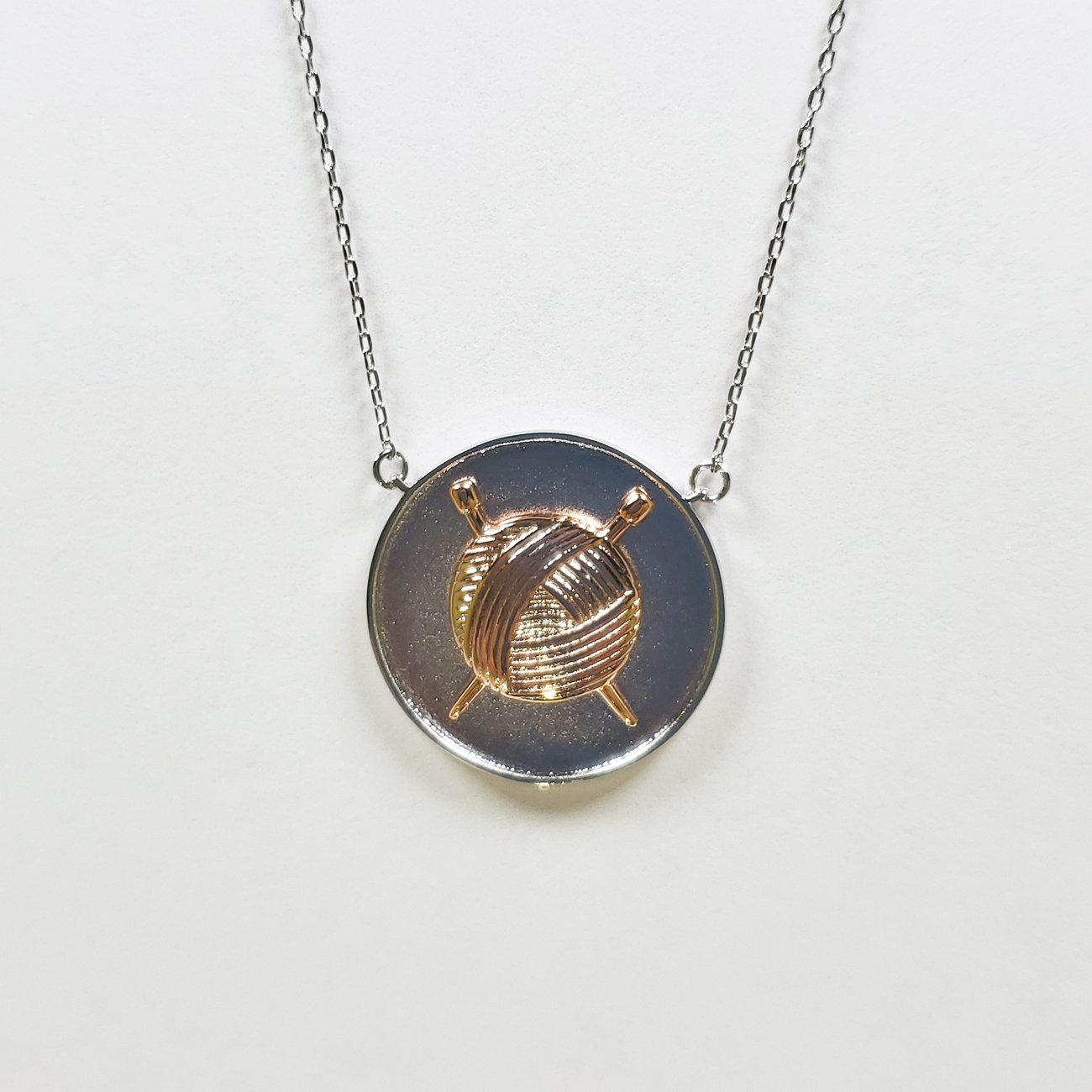 Knit Coin Pendant Silver & Rose Gold
