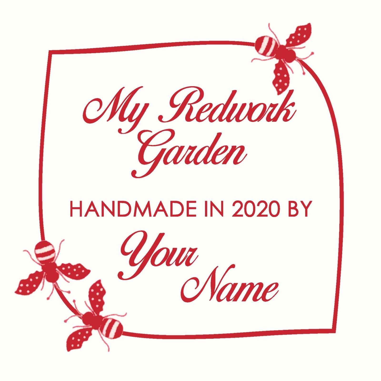 Redwork Garden Custom Quilt Label