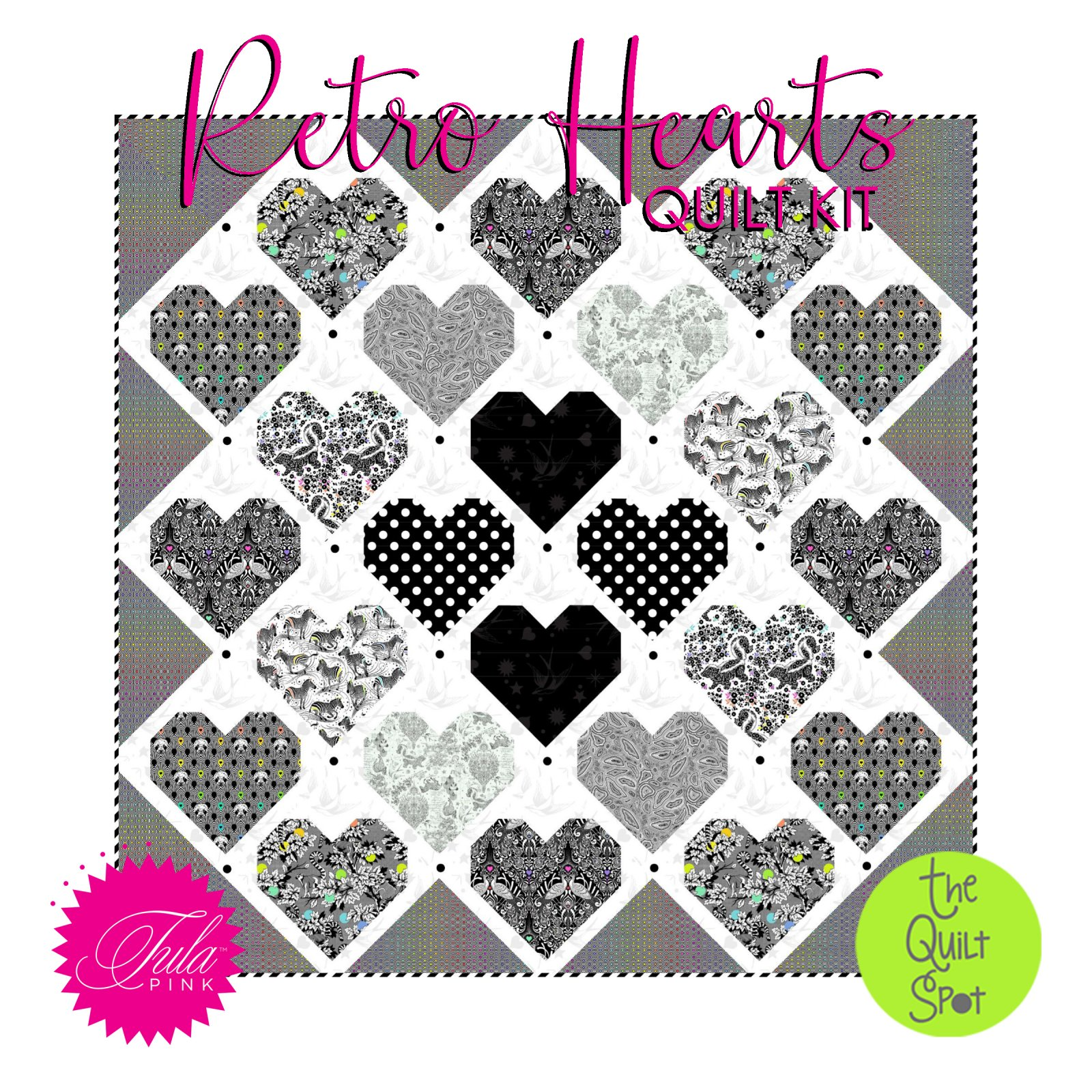 Retro Hearts Quilt Kit featuring Tula Pink's Linework