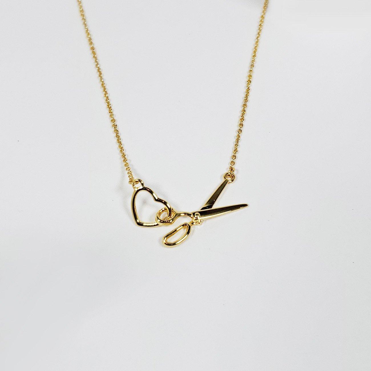 Scissor & Heart Charm Necklace Gold