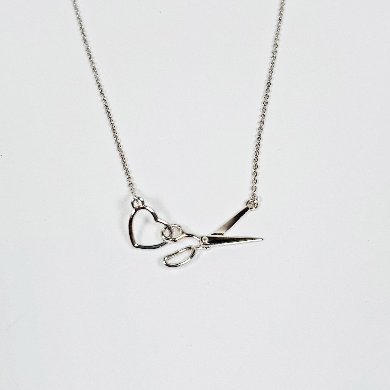 Scissor & Heart Charm Necklace Silver