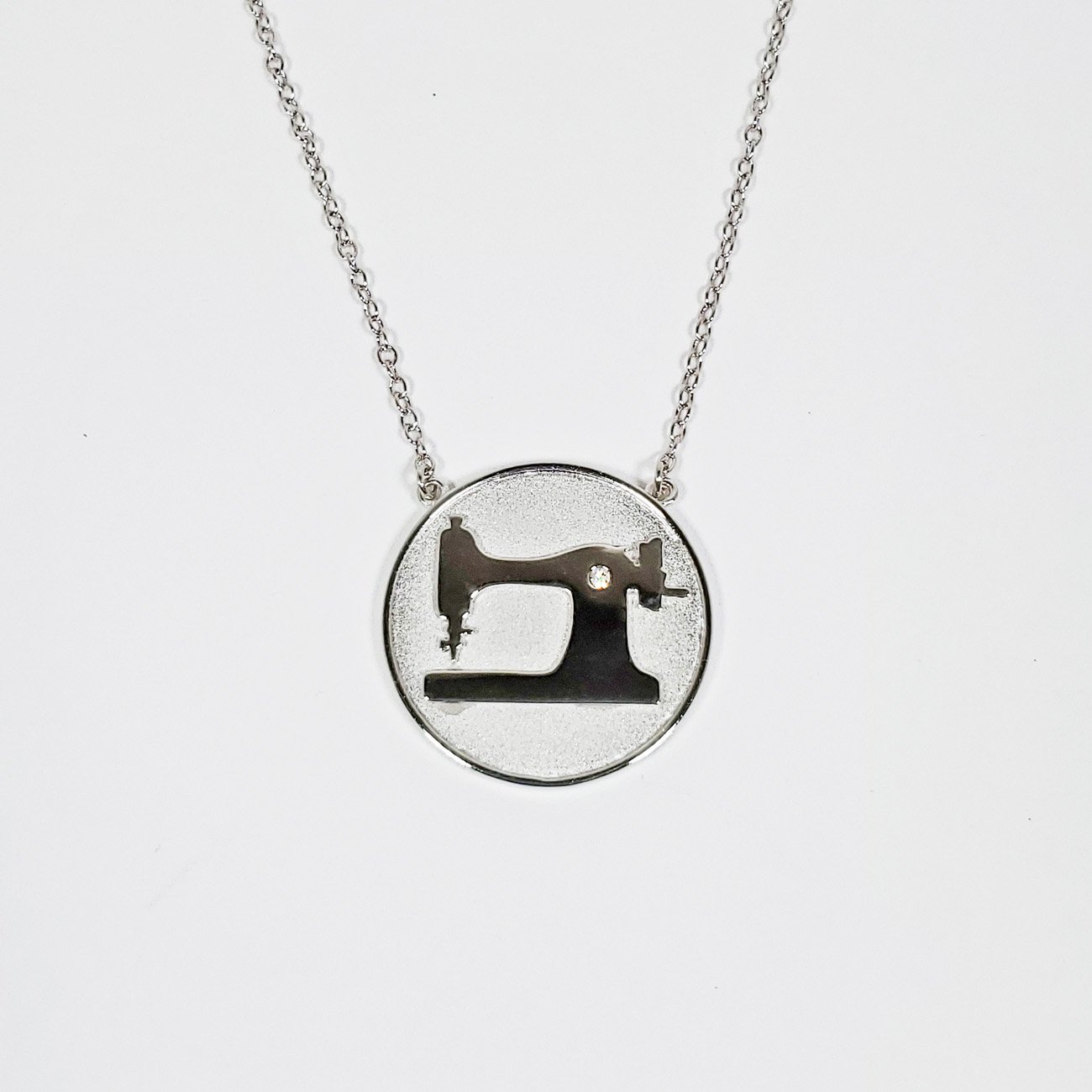 Sewing Machine Coin Pendant Silver
