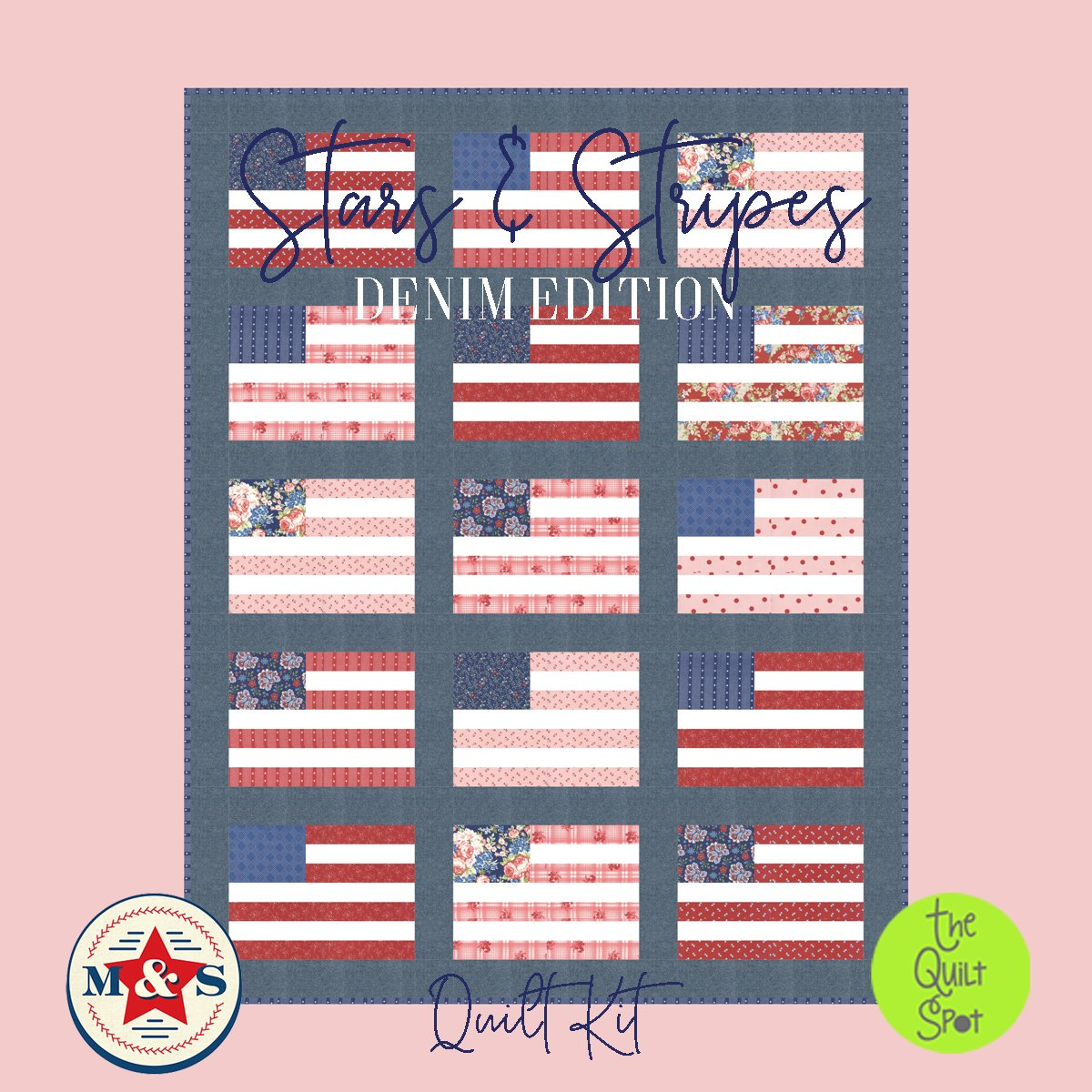 Stars and Stripes Denim Edition Quilt Kit featuring Minick & Simpson