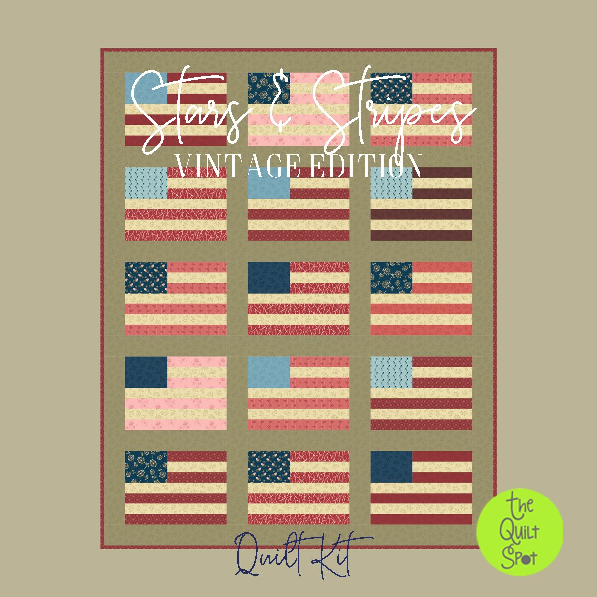 Stars and Stripes Vintage Edition Quilt Kit featuring Laundry Basket Quilts