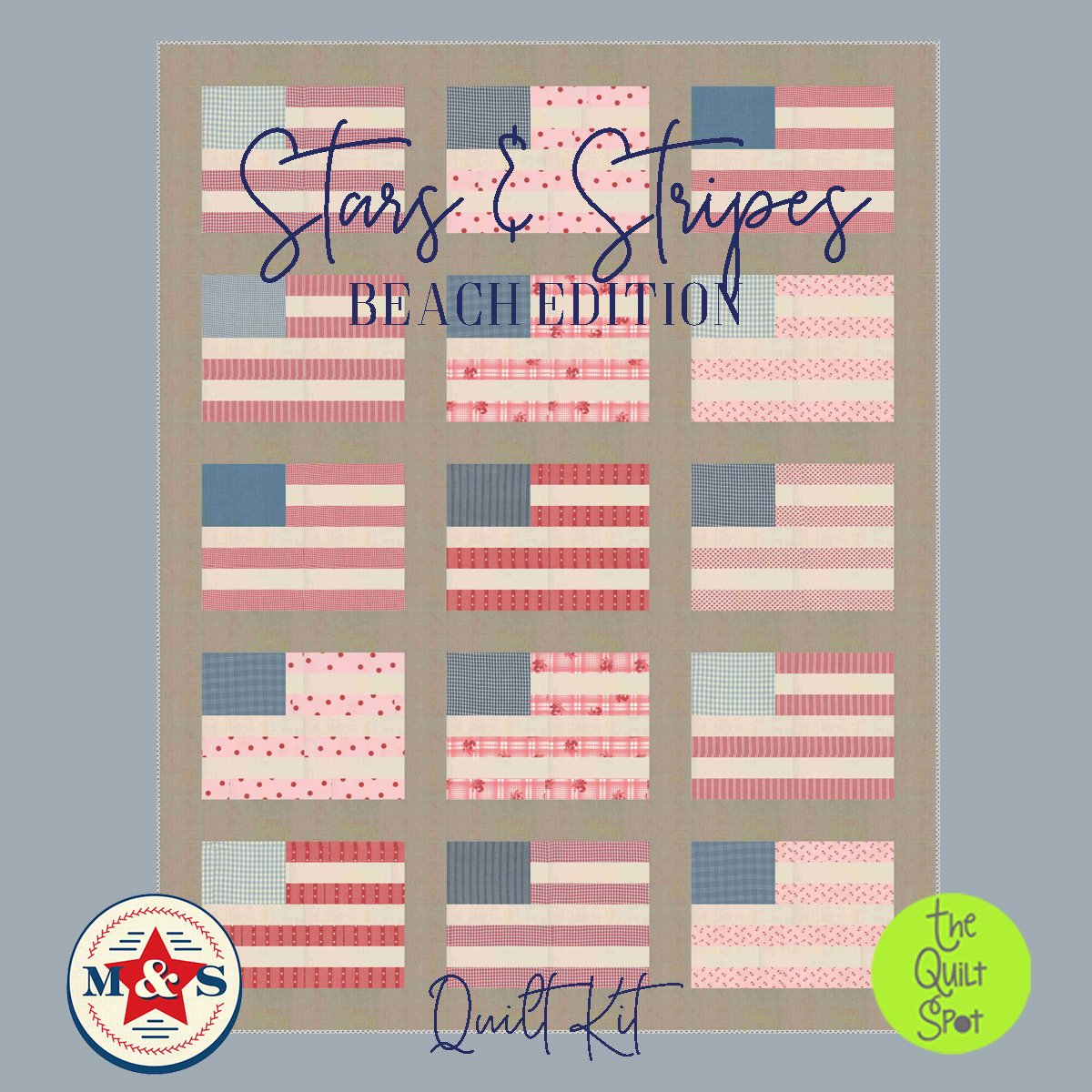 Stars and Stripes Beach Edition Quilt Kit featuring Minick & Simpson