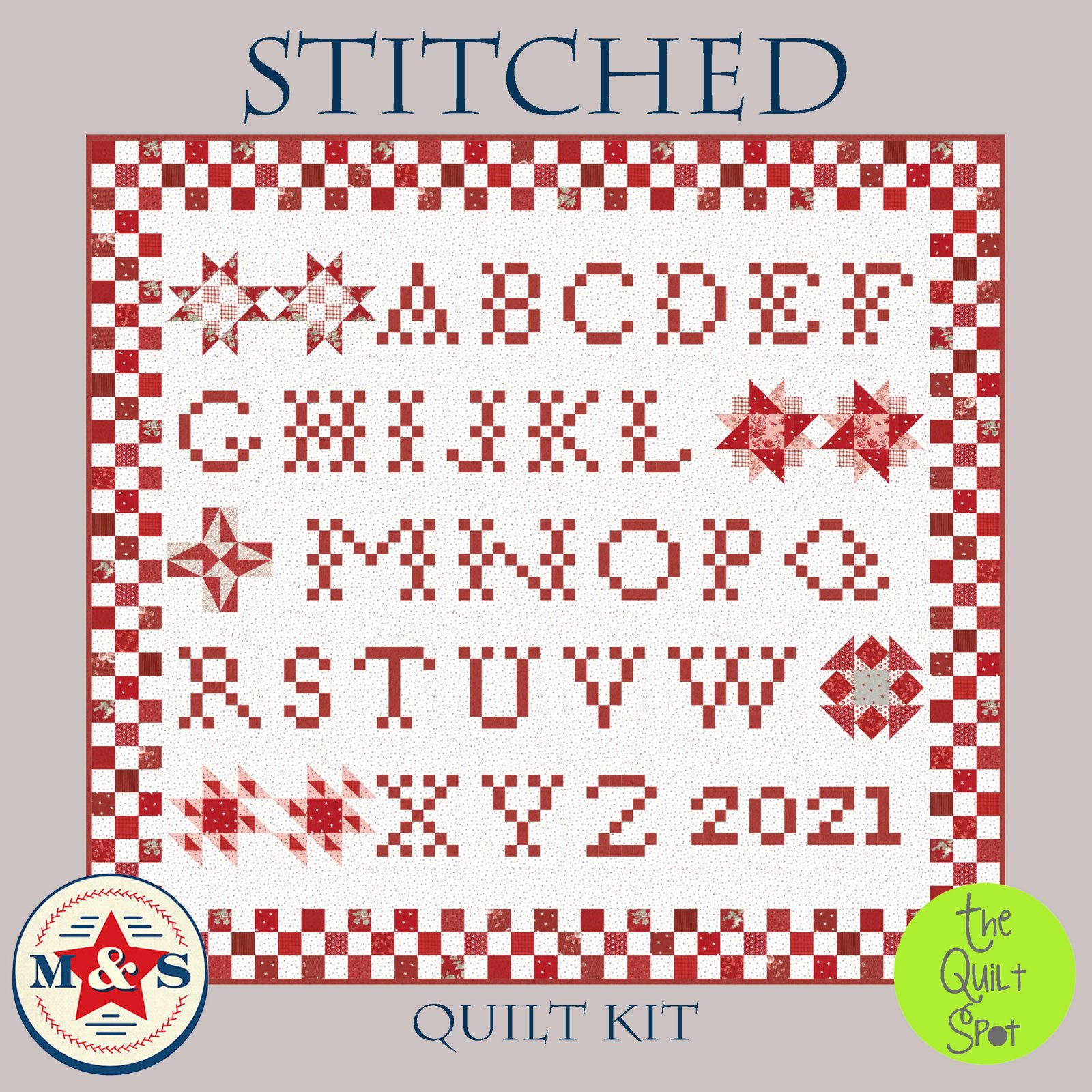 Stitched Quilt Kit by Minick & Simpson featuring Rosylen Fabric by Moda